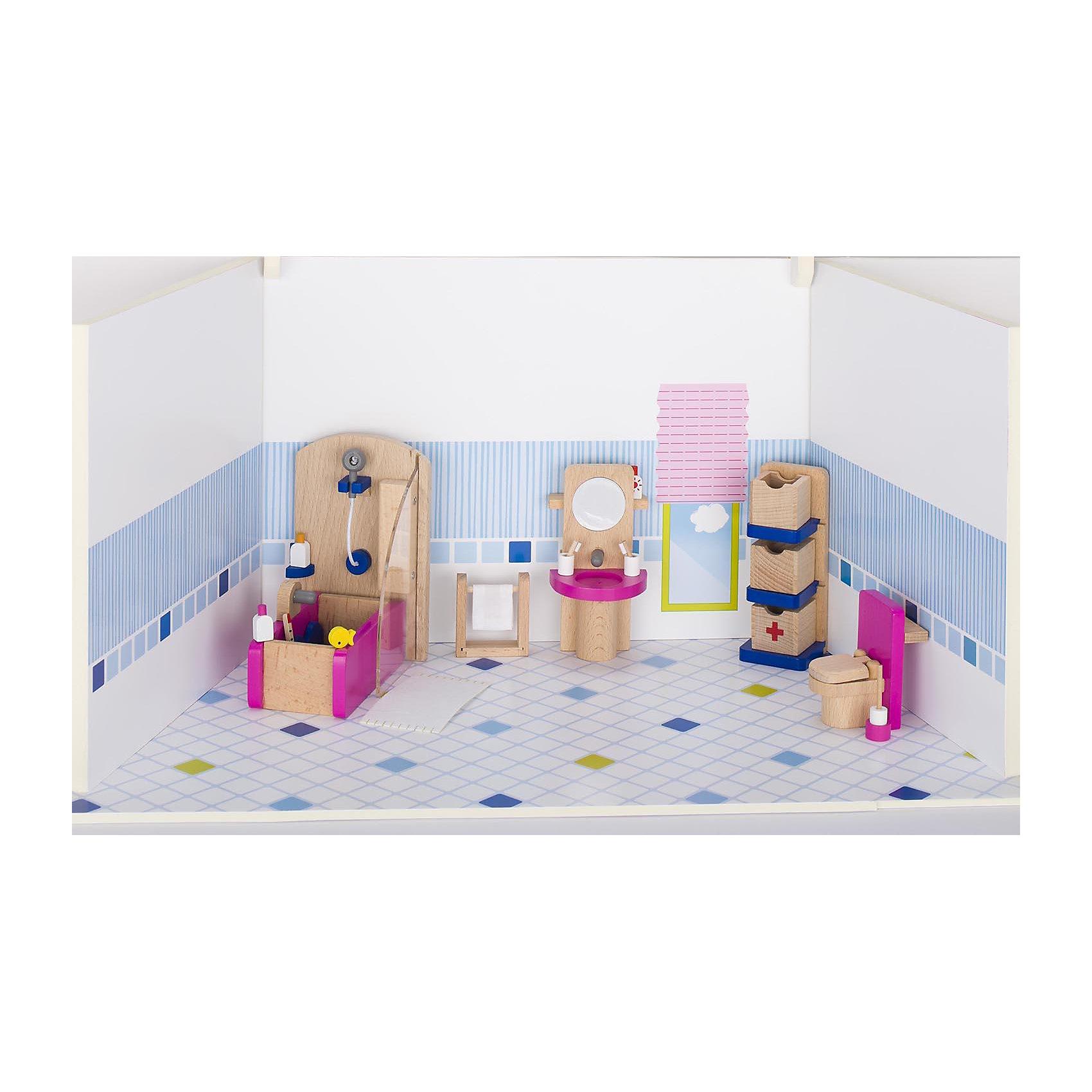 Мебель для кукольной ванной комнаты, gokiДомики и мебель<br>Характеристики товара:<br><br>- цвет: разноцветный;<br>- материал: дерево;<br>- возраст: от трех лет;<br>- комплектация: 22 предмета.<br><br>Этот симпатичный набор из множества предметов, необходимых в кукольной ванной, приводит детей в восторг! Какая девочка сможет отказаться поиграть с куклами, которые имеют ванную комнату, так похожую на настоящую?! В набор входят самые необходимые для этого помещения вещи. Игрушки очень качественно выполнены, поэтому набор станет замечательным подарком ребенку. <br>Продается набор в красивой удобной упаковке. Игры с куклами помогают девочкам развить важные навыки и отработать модели социального взаимодействия. Изделие произведено из высококачественного материала, безопасного для детей.<br><br>Мебель для кукольной ванной комнаты от германского бренда GOKI можно купить в нашем интернет-магазине.<br><br>Ширина мм: 138<br>Глубина мм: 138<br>Высота мм: 138<br>Вес г: 517<br>Возраст от месяцев: 36<br>Возраст до месяцев: 144<br>Пол: Женский<br>Возраст: Детский<br>SKU: 5155314