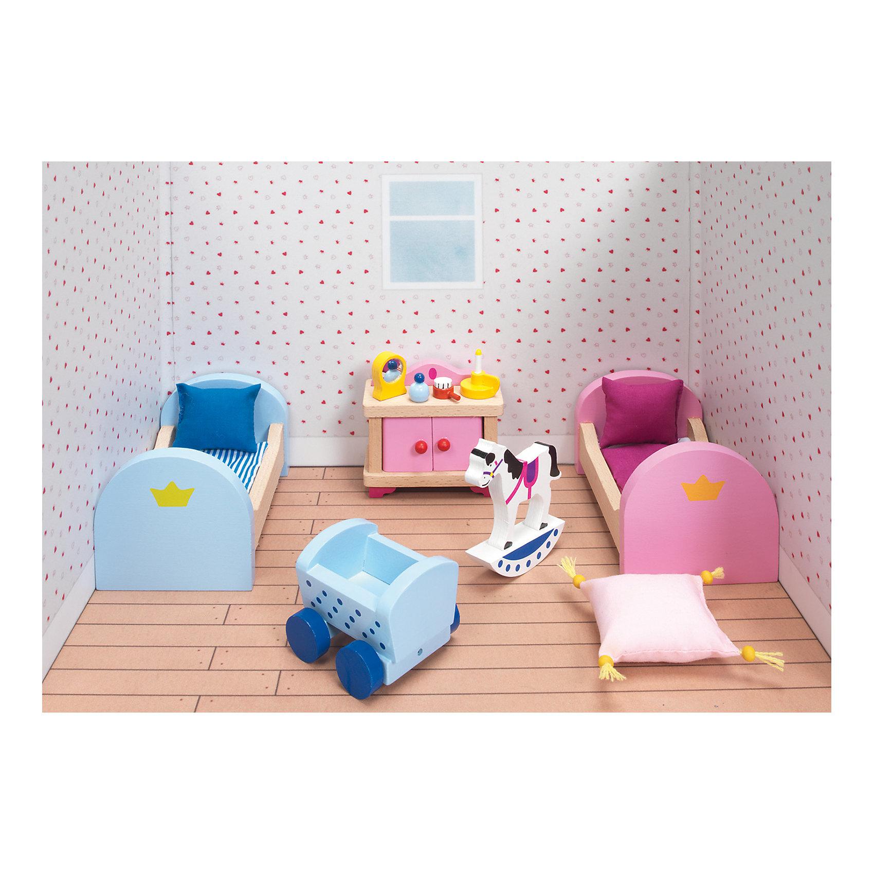 Мебель для кукольной детской (дворец), gokiХарактеристики товара:<br><br>- цвет: разноцветный;<br>- материал: дерево;<br>- возраст: от трех лет;<br>- комплектация: 16 предметов.<br><br>Этот симпатичный набор из множества предметов, необходимых в кукольной детской, приводит детей в восторг! Какая девочка сможет отказаться поиграть с куклами, которые имеют детскую, так похожую на настоящую?! В набор входят самые необходимые для этого помещения вещи. Игрушки очень качественно выполнены, поэтому набор станет замечательным подарком ребенку. <br>Продается набор в красивой удобной упаковке. Игры с куклами помогают девочкам развить важные навыки и отработать модели социального взаимодействия. Изделие произведено из высококачественного материала, безопасного для детей.<br><br>Мебель для кукольной детской (дворец) от германского бренда GOKI можно купить в нашем интернет-магазине.<br><br>Ширина мм: 120<br>Глубина мм: 120<br>Высота мм: 120<br>Вес г: 450<br>Возраст от месяцев: 36<br>Возраст до месяцев: 144<br>Пол: Женский<br>Возраст: Детский<br>SKU: 5155316