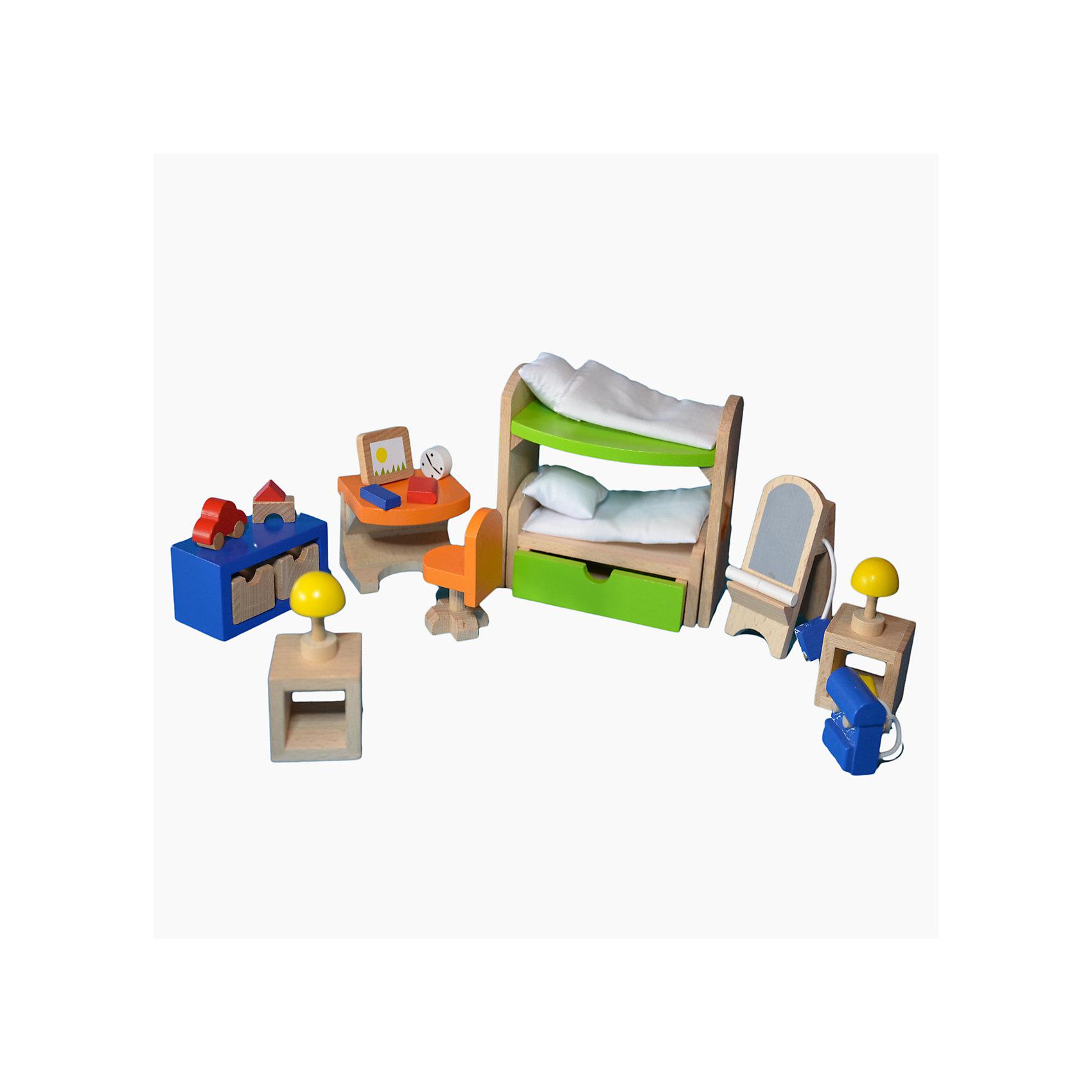 Мебель для кукольной детской с двухэтажной кроватью, gokiХарактеристики товара:<br><br>- цвет: разноцветный;<br>- материал: дерево;<br>- возраст: от трех лет;<br>- комплектация: 28 предметов.<br><br>Этот симпатичный набор из множества предметов, необходимых в кукольной детской, приводит детей в восторг! Какая девочка сможет отказаться поиграть с куклами, которые имеют детскую, так похожую на настоящую?! В набор входят самые необходимые для этого помещения вещи. Игрушки очень качественно выполнены, поэтому набор станет замечательным подарком ребенку. <br>Продается набор в красивой удобной упаковке. Игры с куклами помогают девочкам развить важные навыки и отработать модели социального взаимодействия. Изделие произведено из высококачественного материала, безопасного для детей.<br><br>Мебель для кукольной детской с двухэтажной кроватью от германского бренда GOKI можно купить в нашем интернет-магазине.<br><br>Ширина мм: 104<br>Глубина мм: 104<br>Высота мм: 104<br>Вес г: 478<br>Возраст от месяцев: 36<br>Возраст до месяцев: 144<br>Пол: Женский<br>Возраст: Детский<br>SKU: 5155317
