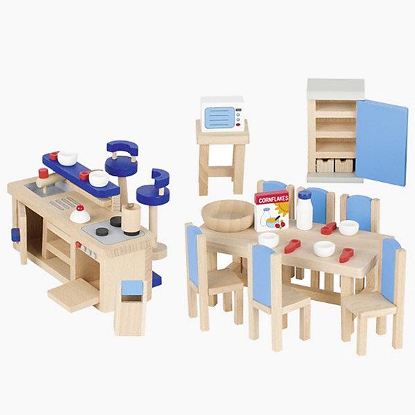 Мебель для кукольной кухни modern синяя, gokiМебель для кукол<br>Характеристики товара:<br><br>- цвет: разноцветный;<br>- материал: дерево;<br>- возраст: от трех лет;<br>- комплектация: 30 предметов.<br><br>Этот симпатичный набор из множества предметов, необходимых на кукольной кухне, приводит детей в восторг! Какая девочка сможет отказаться поиграть с куклами, которые имеют кухню, так похожую на настоящую?! В набор входят самые необходимые для этого помещения вещи. Игрушки очень качественно выполнены, поэтому набор станет замечательным подарком ребенку. <br>Продается набор в красивой удобной упаковке. Игры с куклами помогают девочкам развить важные навыки и отработать модели социального взаимодействия. Изделие произведено из высококачественного материала, безопасного для детей.<br><br>Мебель для кукольной кухни modern синяя от бренда GOKI можно купить в нашем интернет-магазине.<br>Ширина мм: 143; Глубина мм: 143; Высота мм: 143; Вес г: 621; Возраст от месяцев: 36; Возраст до месяцев: 144; Пол: Женский; Возраст: Детский; SKU: 5155318;