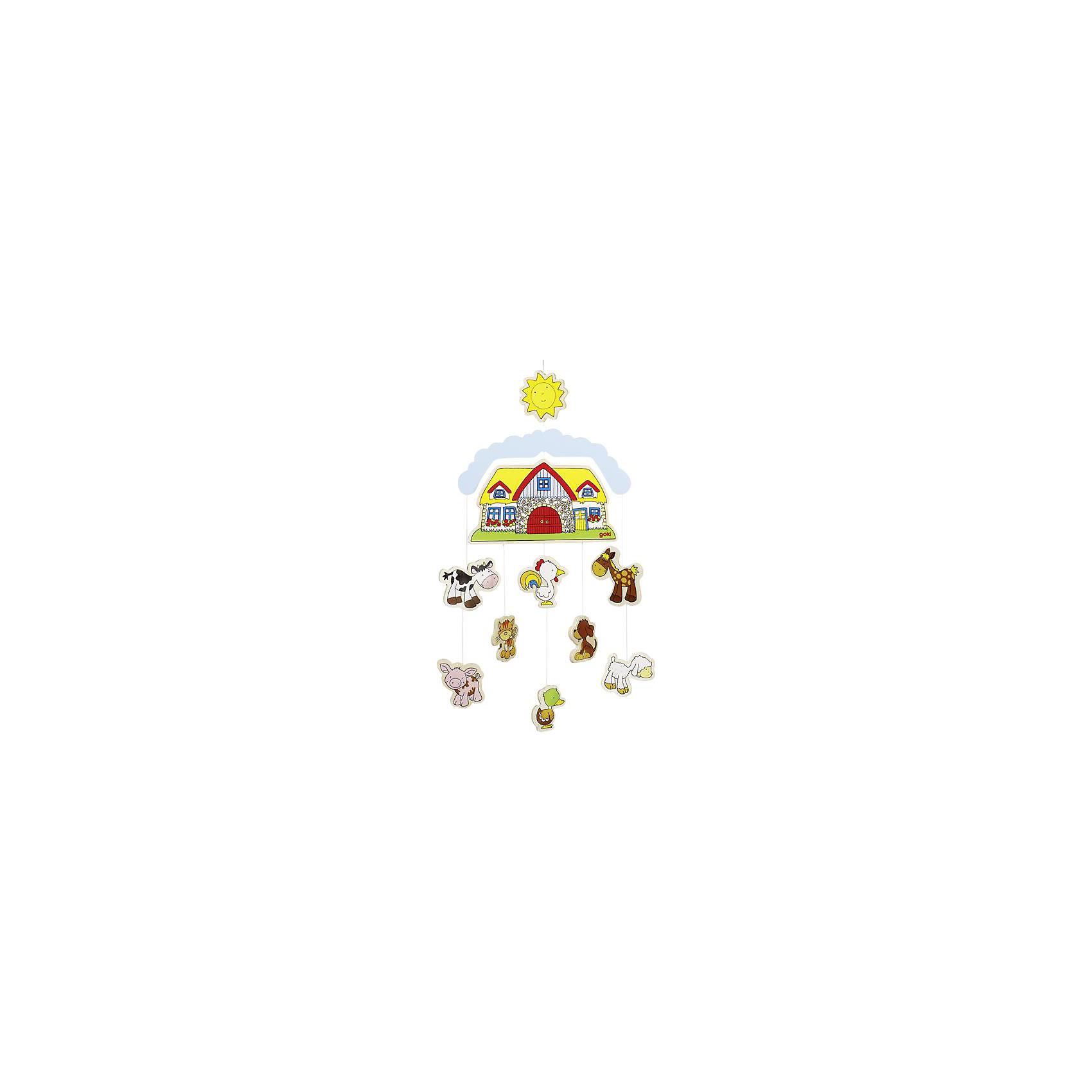 Мобиле Ферма, gokiМобили<br>Характеристики товара:<br><br>- цвет: разноцветный;<br>- для новорожденных;<br>- размер: 25x43x25 см;<br>- вес: 240 г;<br>- легко подвесить над кроваткой.<br><br>Детская яркая подвеска – отличный подарок для ребенка. В процессе наблюдения за ней ребенок развивает воображение и внимание. Все детали выполнены в определенной тематике, поэтому мобиле смотрится очень органично и украшеает детскую комнату. <br>Такая игрушка позволит малышу с детства развивать цветовосприятие, также она помогает детям научиться фокусировать внимание. Изделие произведено из качественных материалов, безопасных для ребенка.<br><br>Мобиле Ферма от бренда GOKI можно купить в нашем интернет-магазине.<br><br>Ширина мм: 250<br>Глубина мм: 430<br>Высота мм: 250<br>Вес г: 240<br>Возраст от месяцев: 3<br>Возраст до месяцев: 24<br>Пол: Унисекс<br>Возраст: Детский<br>SKU: 5155321