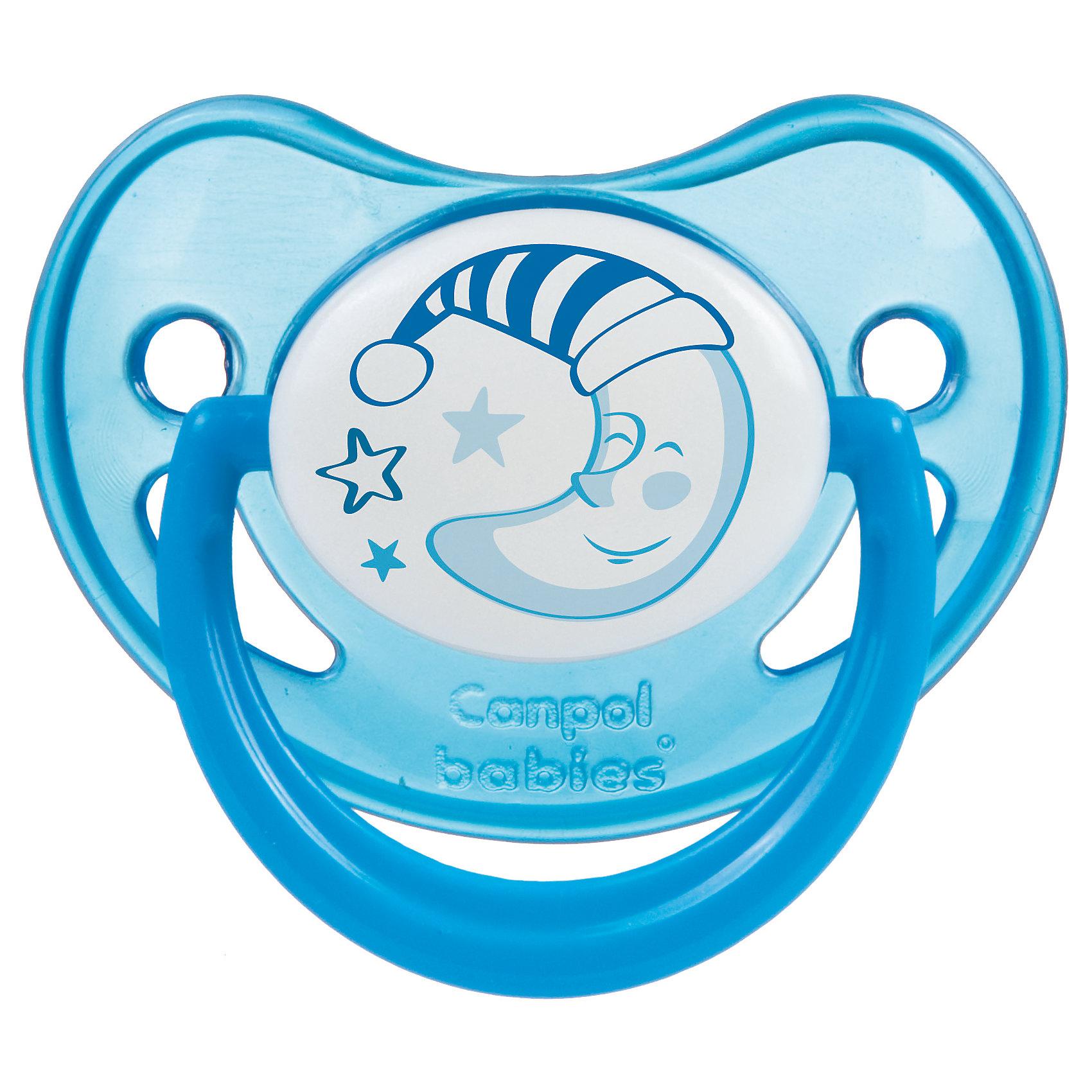 Пустышка анатомическая силиконовая, 0-6 Night Dreams, Canpol Babies, синийХарактеристики:<br><br>• Наименование: пустышка<br>• Пол: для мальчика<br>• Материал: силикон, пластик<br>• Цвет: синий, белый<br>• Форма: анатомическая<br>• Наличие отверстий для вентиляции<br>• Наличие кольца для держателя<br>• Особенности ухода: регулярная стерилизация и своевременная замена<br><br>Пустышка анатомическая силиконовая, 0-6 Night Dreams, Canpol Babies, синий имеет специальную форму, которая обеспечивает правильное давление на небо. Изготовлена из запатентованного вида силикона, который не имеет запаха. При правильном уходе обеспечивает длительное использование. У соски имеется классический ограничитель с отверстиями для вентиляции и кольцо для держателя, которое светится в темноте. Пустышка анатомическая силиконовая, 0-6 Night Dreams, Canpol Babies, синий выполнена в ярком дизайне с изображением звезд и месяца.<br><br>Пустышку анатомическую силиконовую, 0-6 Night Dreams, Canpol Babies, синюю можно купить в нашем интернет-магазине.<br><br>Ширина мм: 95<br>Глубина мм: 45<br>Высота мм: 155<br>Вес г: 110<br>Возраст от месяцев: 0<br>Возраст до месяцев: 6<br>Пол: Мужской<br>Возраст: Детский<br>SKU: 5156607