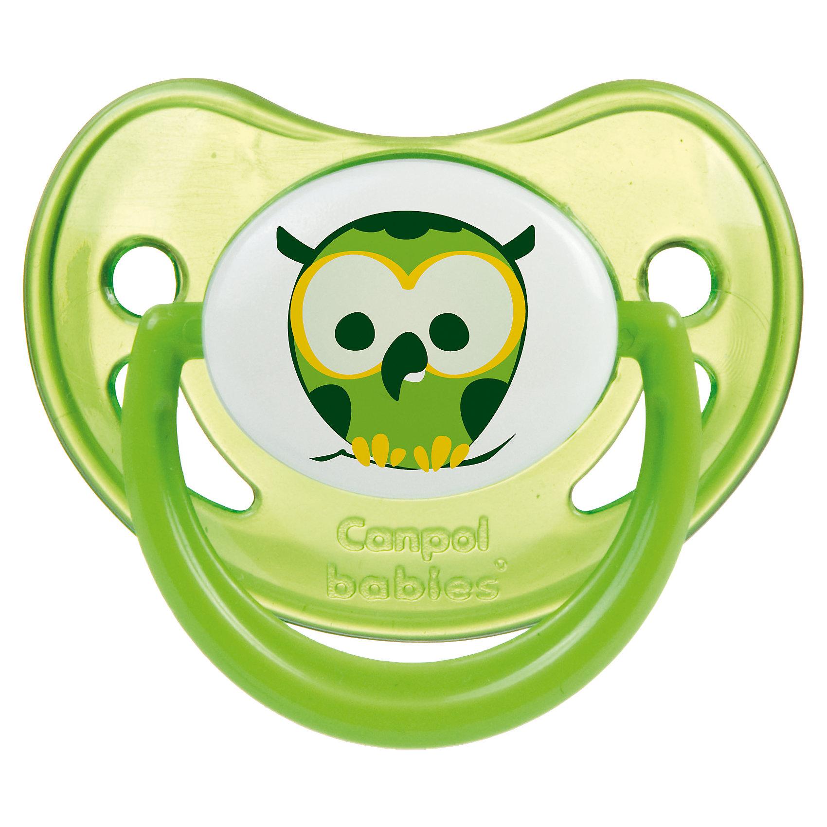 Пустышка анатомическая силиконовая, 0-6 Night Dreams, Canpol Babies, зеленыйПустышки из силикона<br>Характеристики:<br><br>• Наименование: пустышка<br>• Пол: универсальный<br>• Материал: силикон, пластик<br>• Цвет: зеленый, белый<br>• Форма: анатомическая<br>• Наличие отверстий для вентиляции<br>• Наличие кольца для держателя<br>• Особенности ухода: регулярная стерилизация и своевременная замена<br><br>Пустышка анатомическая силиконовая, 0-6 Night Dreams, Canpol Babies, зеленый имеет специальную форму, которая обеспечивает правильное давление на небо. Изготовлена из запатентованного вида силикона, который не имеет запаха. При правильном уходе обеспечивает длительное использование. У соски имеется классический ограничитель с отверстиями для вентиляции и кольцо для держателя, которое светится в темноте. Пустышка анатомическая силиконовая, 0-6 Night Dreams, Canpol Babies, зеленый выполнена в ярком дизайне с изображением совушки.<br><br>Пустышку анатомическую силиконовую, 0-6 Night Dreams, Canpol Babies, зеленую можно купить в нашем интернет-магазине.<br><br>Ширина мм: 95<br>Глубина мм: 45<br>Высота мм: 155<br>Вес г: 110<br>Возраст от месяцев: 0<br>Возраст до месяцев: 6<br>Пол: Унисекс<br>Возраст: Детский<br>SKU: 5156609
