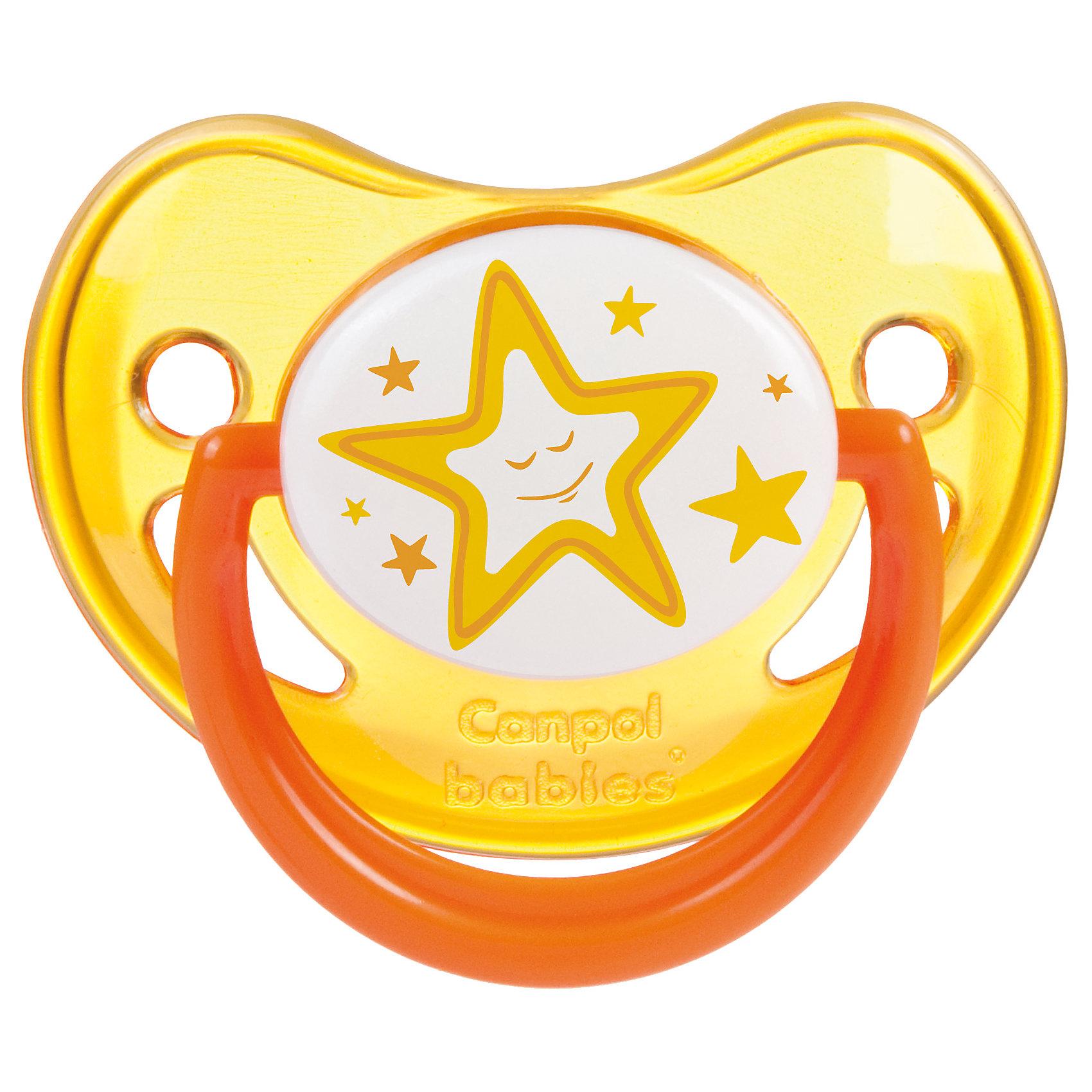 Пустышка анатомическая силиконовая, 0-6 Night Dreams, Canpol Babies, желтыйПустышки из силикона<br>Характеристики:<br><br>• Наименование: пустышка<br>• Пол: универсальный<br>• Материал: силикон, пластик<br>• Цвет: желтый, белый<br>• Форма: анатомическая<br>• Наличие отверстий для вентиляции<br>• Наличие кольца для держателя<br>• Особенности ухода: регулярная стерилизация и своевременная замена<br><br>Пустышка анатомическая силиконовая, 0-6 Night Dreams, Canpol Babies, желтый имеет специальную форму, которая обеспечивает правильное давление на небо. Изготовлена из запатентованного вида силикона, который не имеет запаха. При правильном уходе обеспечивает длительное использование. У соски имеется классический ограничитель с отверстиями для вентиляции и кольцо для держателя, которое светится в темноте. Пустышка анатомическая силиконовая, 0-6 Night Dreams, Canpol Babies, желтый выполнена в ярком дизайне с изображением звезд.<br><br>Пустышку анатомическую силиконовую, 0-6 Night Dreams, Canpol Babies, желтую можно купить в нашем интернет-магазине.<br><br>Ширина мм: 95<br>Глубина мм: 45<br>Высота мм: 155<br>Вес г: 110<br>Возраст от месяцев: 0<br>Возраст до месяцев: 6<br>Пол: Унисекс<br>Возраст: Детский<br>SKU: 5156610