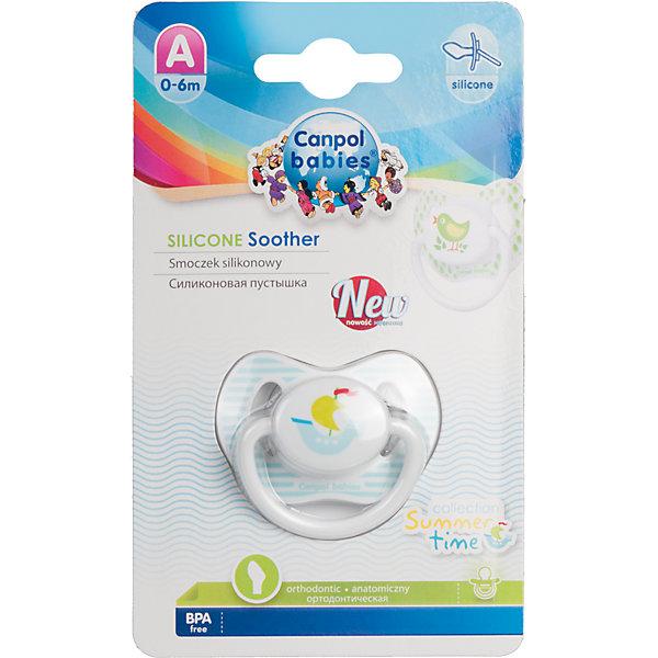 Пустышка анатомическая силиконовая, 0-6 Summertime, Canpol Babies, корабликСиликоновые пустышки<br>Характеристики:<br><br>• Наименование: пустышка<br>• Пол: для мальчика<br>• Материал: силикон, пластик<br>• Цвет: белый, голубой, зеленый<br>• Форма: анатомическая<br>• Наличие отверстий для вентиляции<br>• Наличие кольца для держателя<br>• Особенности ухода: регулярная стерилизация и своевременная замена<br><br>Пустышка анатомическая силиконовая, 0-6 Summertime, Canpol Babies, кораблик имеет специальную форму, которая обеспечивает правильное давление на небо. Изготовлена из запатентованного вида силикона, который не имеет запаха. При правильном уходе обеспечивает длительное использование. У соски имеется ограничитель в форме симметричной бабочки, который учитывает анатомические особенности детского личика. Пустышка анатомическая силиконовая, 0-6 Summertime, Canpol Babies, кораблик выполнена в ярком дизайне с изображением кораблика.<br><br>Пустышку анатомическую силиконовую, 0-6 Summertime, Canpol Babies, кораблик можно купить в нашем интернет-магазине.<br>Ширина мм: 92; Глубина мм: 45; Высота мм: 155; Вес г: 90; Возраст от месяцев: 0; Возраст до месяцев: 6; Пол: Мужской; Возраст: Детский; SKU: 5156613;