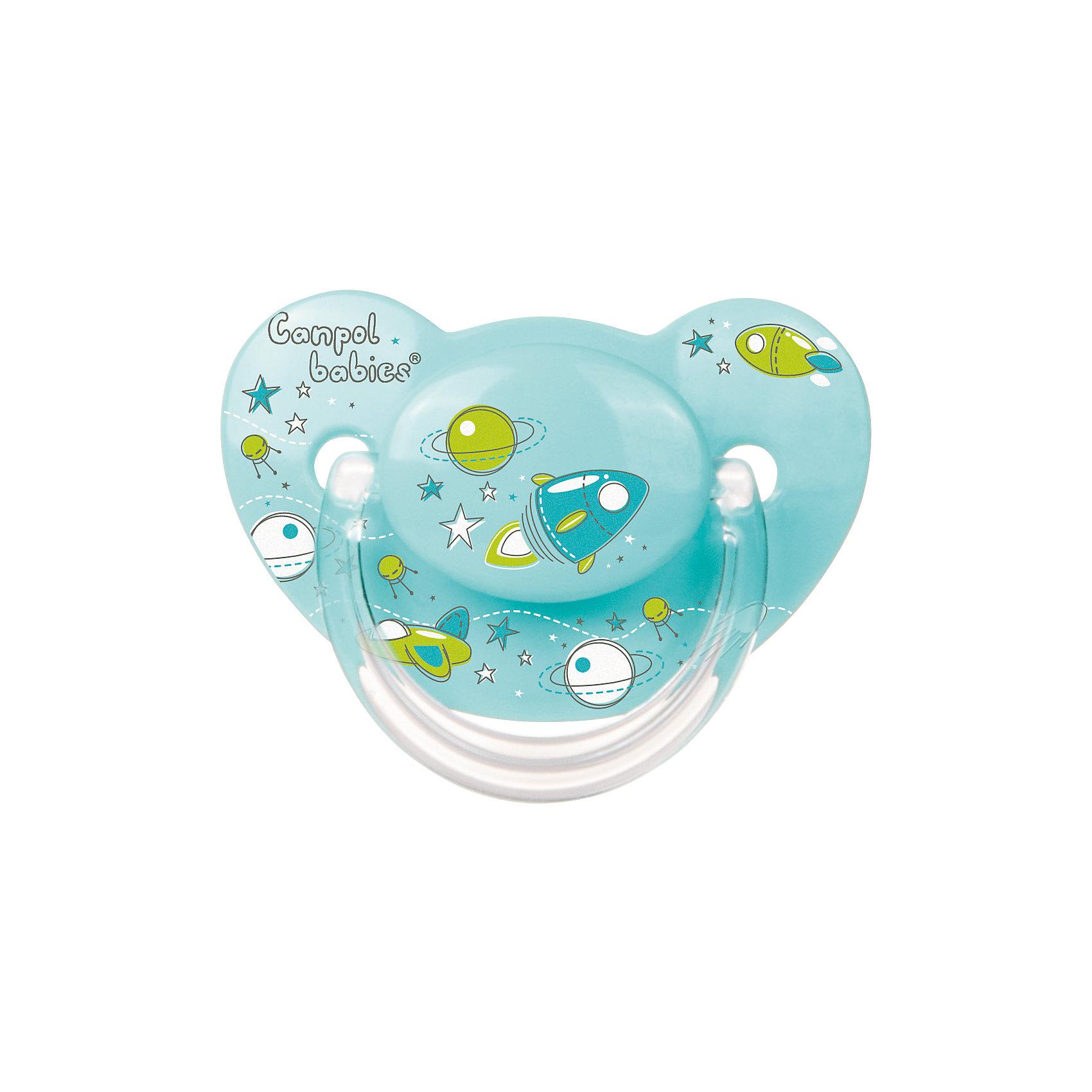 Пустышка анатомическая силиконовая, 6-18 Machines, Canpol Babies, бирюзовыйХарактеристики:<br><br>• Наименование: пустышка<br>• Пол: для мальчика<br>• Материал: силикон, пластик<br>• Цвет: бирюзовый, синий, зеленый<br>• Форма: анатомическая<br>• Наличие отверстий для вентиляции<br>• Наличие кольца для держателя<br>• Особенности ухода: регулярная стерилизация и своевременная замена<br><br>Пустышка анатомическая силиконовая, 6-18 Machines, Canpol Babies, бирюзовый имеет специальную форму, которая обеспечивает правильное давление на небо. Изготовлена из запатентованного вида силикона, который не имеет запаха. При правильном уходе обеспечивает длительное использование. У соски имеется классический ограничитель с отверстиями для вентиляции и кольцо для держателя. Пустышка анатомическая силиконовая, 6-18 Machines, Canpol Babies, бирюзовый выполнена в ярком дизайне в космической тематике.<br><br>Пустышку анатомическую силиконовую, 6-18 Machines, Canpol Babies, бирюзовую можно купить в нашем интернет-магазине.<br><br>Ширина мм: 95<br>Глубина мм: 45<br>Высота мм: 155<br>Вес г: 110<br>Возраст от месяцев: 6<br>Возраст до месяцев: 18<br>Пол: Мужской<br>Возраст: Детский<br>SKU: 5156616