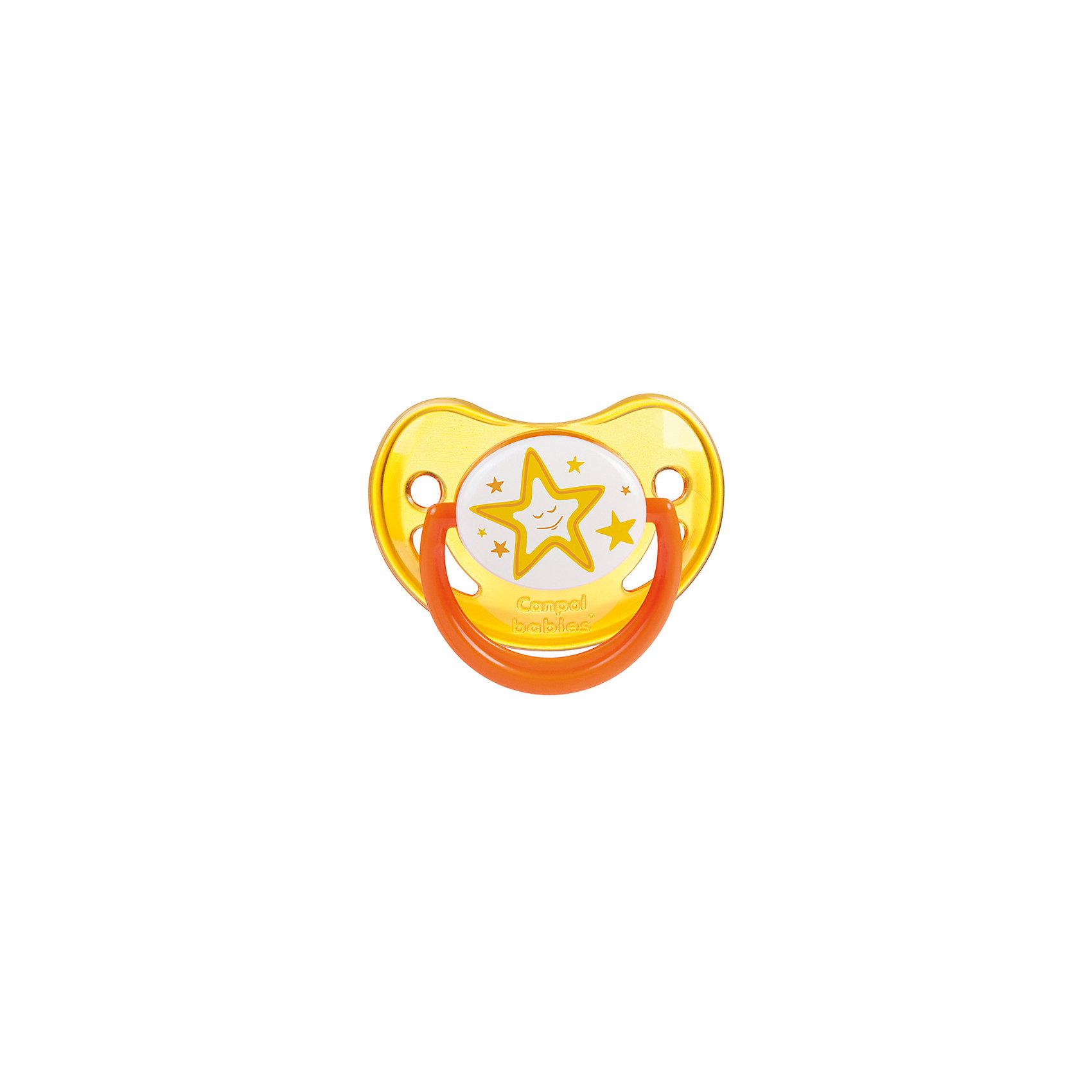Пустышка анатомическая силиконовая, 6-18 Night Dreams, Canpol Babies, желтыйПустышки из силикона<br>Характеристики:<br><br>• Наименование: пустышка<br>• Пол: универсальный<br>• Материал: силикон, пластик<br>• Цвет: желтый, белый<br>• Форма: анатомическая<br>• Наличие отверстий для вентиляции<br>• Наличие кольца для держателя<br>• Особенности ухода: регулярная стерилизация и своевременная замена<br><br>Пустышка анатомическая силиконовая, 6-18 Night Dreams, Canpol Babies, желтый имеет специальную форму, которая обеспечивает правильное давление на небо. Изготовлена из запатентованного вида силикона, который не имеет запаха. При правильном уходе обеспечивает длительное использование. У соски имеется классический ограничитель с отверстиями для вентиляции и кольцо для держателя, которое светится в темноте. Пустышка анатомическая силиконовая, 6-18 Night Dreams, Canpol Babies, желтый выполнена в ярком дизайне с изображением звезд.<br><br>Пустышку анатомическую силиконовую, 6-18 Night Dreams, Canpol Babies, желтую можно купить в нашем интернет-магазине.<br><br>Ширина мм: 95<br>Глубина мм: 45<br>Высота мм: 155<br>Вес г: 110<br>Возраст от месяцев: 6<br>Возраст до месяцев: 18<br>Пол: Унисекс<br>Возраст: Детский<br>SKU: 5156622