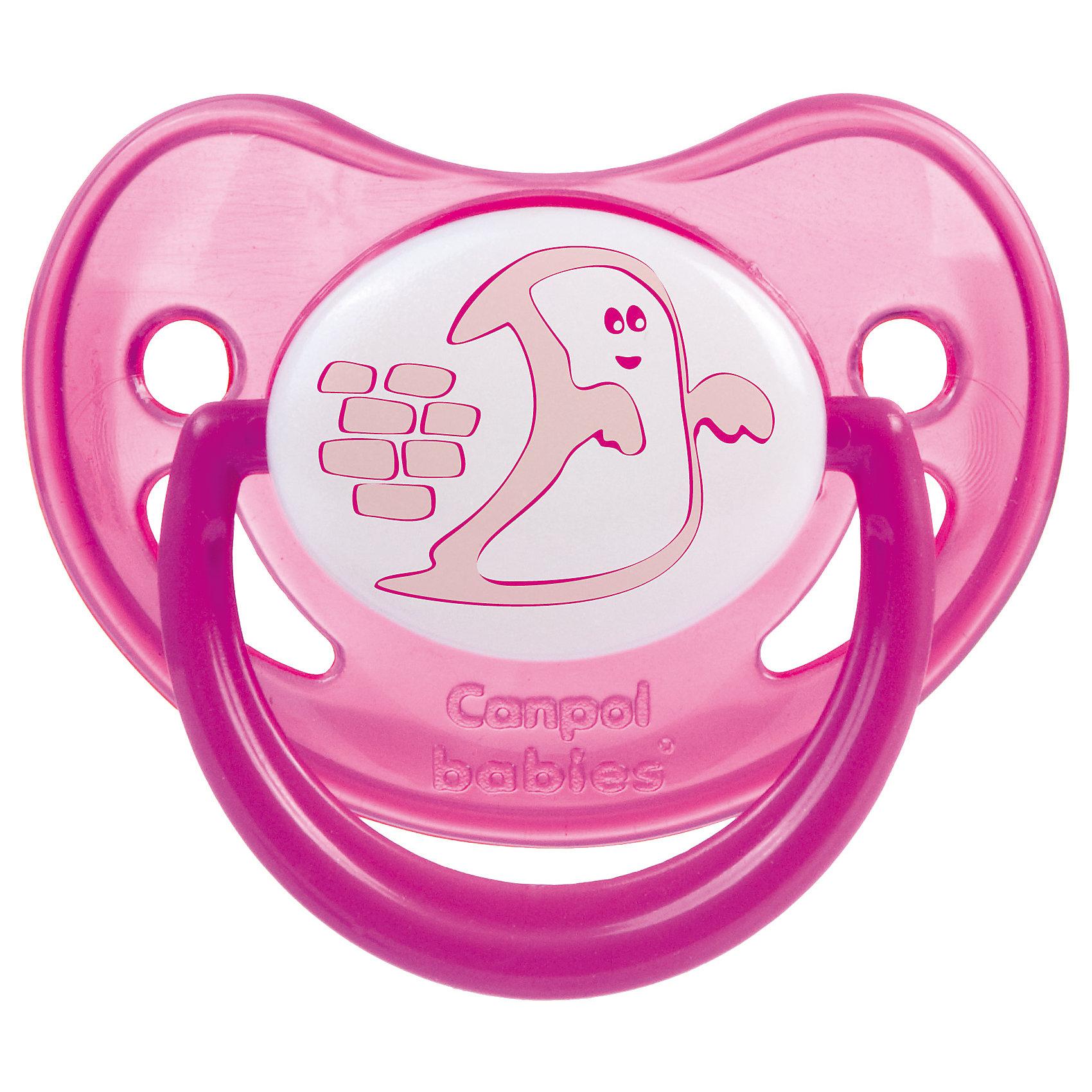 Canpol Babies Пустышка анатомическая силиконовая, 6-18 Night Dreams, Canpol Babies, розовый canpol babies набор соска пустышка с держателем волшебная сказка 0 6 мес саnpol babies розовый