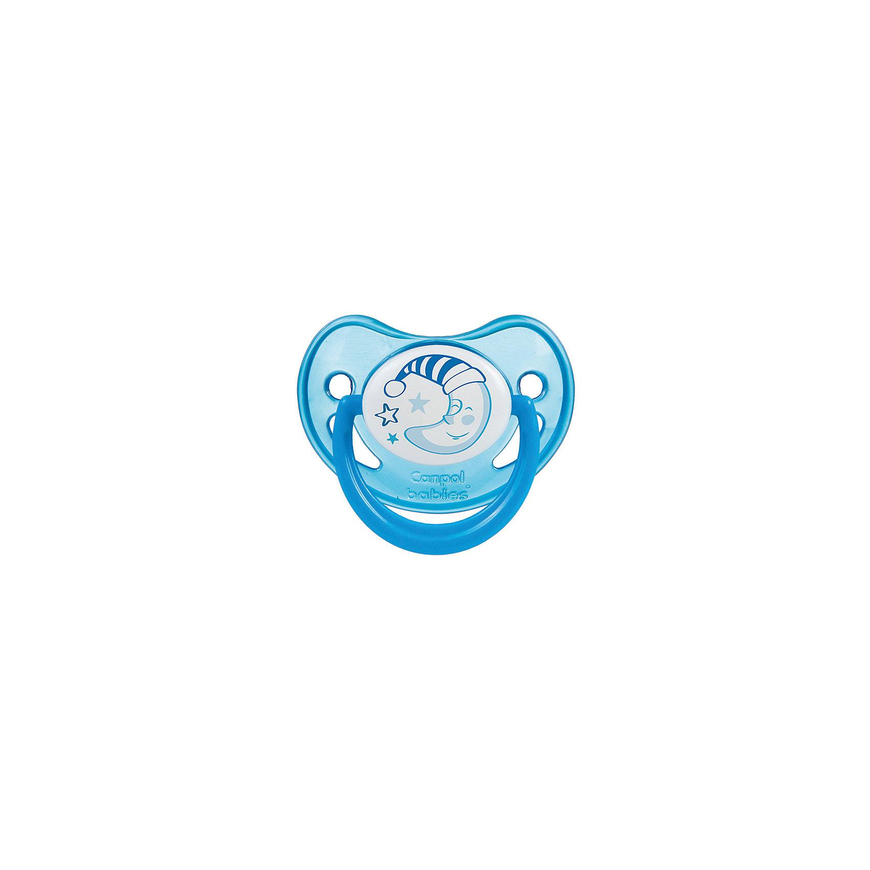 Пустышка анатомическая силиконовая, 6-18 Night Dreams, Canpol Babies, синийХарактеристики:<br><br>• Наименование: пустышка<br>• Пол: для мальчика<br>• Материал: силикон, пластик<br>• Цвет: синий, белый<br>• Форма: анатомическая<br>• Наличие отверстий для вентиляции<br>• Наличие кольца для держателя<br>• Особенности ухода: регулярная стерилизация и своевременная замена<br><br>Пустышка анатомическая силиконовая, 6-18 Night Dreams, Canpol Babies, синий имеет специальную форму, которая обеспечивает правильное давление на небо. Изготовлена из запатентованного вида силикона, который не имеет запаха. При правильном уходе обеспечивает длительное использование. У соски имеется классический ограничитель с отверстиями для вентиляции и кольцо для держателя, которое светится в темноте. Пустышка анатомическая силиконовая, 6-18 Night Dreams, Canpol Babies, синий выполнена в ярком дизайне с изображением звезд и месяца.<br><br>Пустышку анатомическую силиконовую, 6-18 Night Dreams, Canpol Babies, синюю можно купить в нашем интернет-магазине.<br><br>Ширина мм: 95<br>Глубина мм: 45<br>Высота мм: 155<br>Вес г: 110<br>Возраст от месяцев: 6<br>Возраст до месяцев: 18<br>Пол: Мужской<br>Возраст: Детский<br>SKU: 5156625