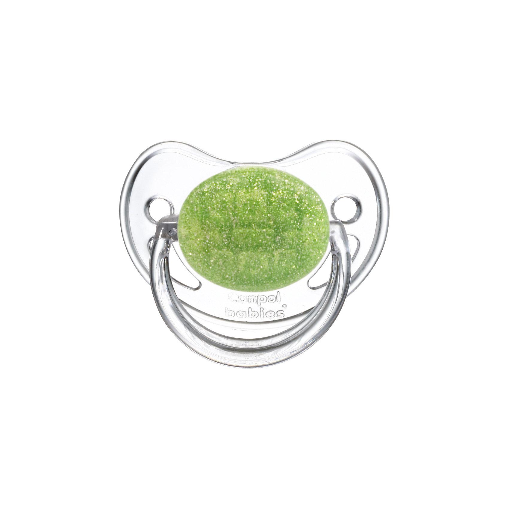 Пустышка круглая латексная, 0-6 Moonlight, Canpol Babies, зеленыйПустышки из латекса<br>Характеристики:<br><br>• Наименование: пустышка<br>• Пол: для девочки<br>• Материал: латекс, пластик<br>• Цвет: белый, зеленый<br>• Форма: круглая<br>• Наличие отверстий для вентиляции<br>• Наличие кольца для держателя<br>• Особенности ухода: регулярная стерилизация и своевременная замена<br><br>Пустышка круглая латексная, 0-6 Moonlight, Canpol Babies, зеленый имеет специальную форму, которая обеспечивает правильное давление на небо. Изготовлена из качественных и безопасных материалов. При правильном уходе обеспечивает длительное использование. У соски имеется ограничитель классической круглой формы с отверстиями для вентиляции и кольцо для держателя. Пустышка круглая латексная, 0-6 Moonlight, Canpol Babies, зеленый выполнена в стильном дизайне с эффектом серебристо-зеленого мерцания.<br><br>Пустышку круглую латексную, 0-6 Moonlight, Canpol Babies, зеленую можно купить в нашем интернет-магазине.<br><br>Ширина мм: 95<br>Глубина мм: 45<br>Высота мм: 155<br>Вес г: 110<br>Возраст от месяцев: 0<br>Возраст до месяцев: 6<br>Пол: Женский<br>Возраст: Детский<br>SKU: 5156632