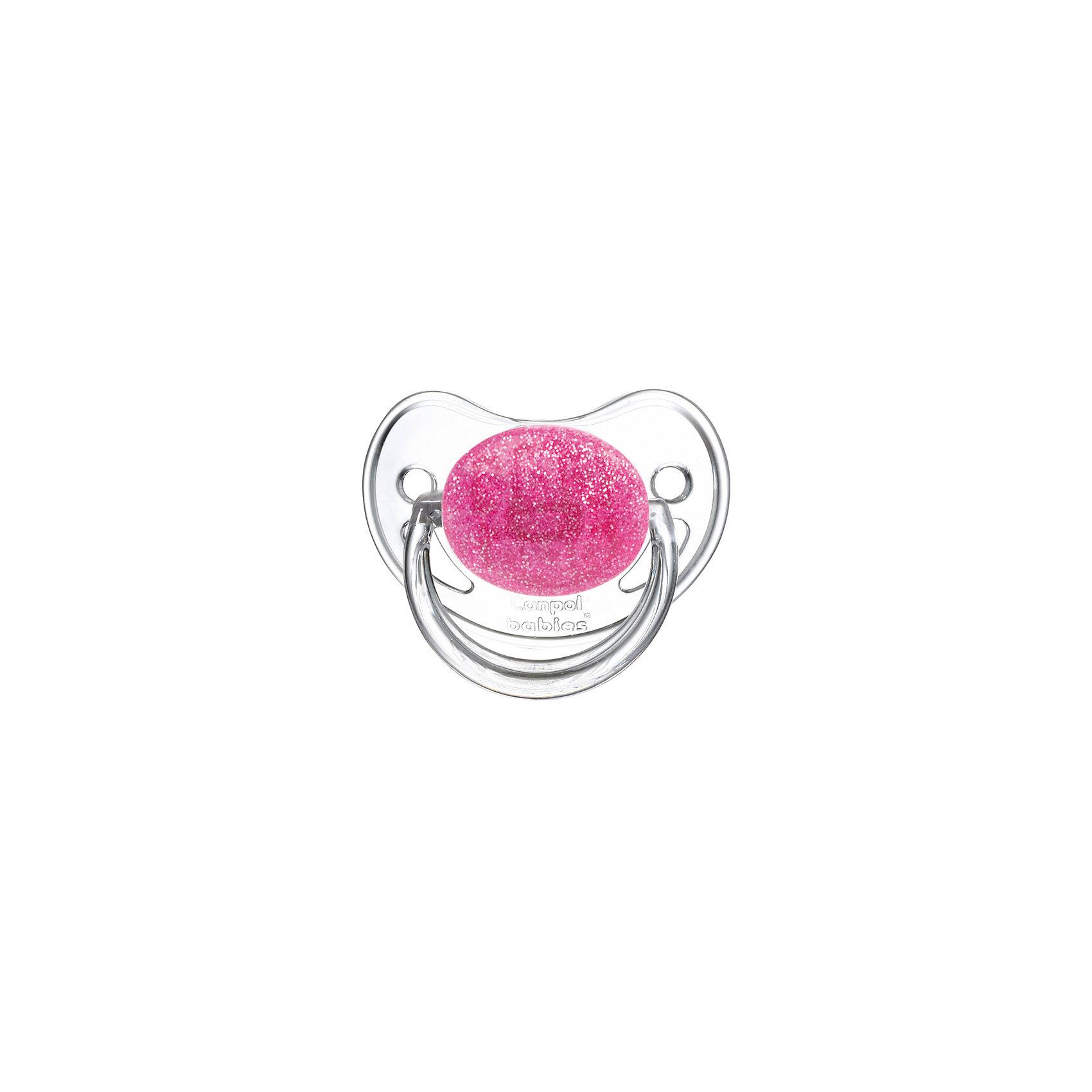 Canpol Babies Пустышка круглая латексная, 6-18 Moonlight, Canpol Babies, розовый canpol babies мисочка с ложкой и крышкой canpol babies розовый