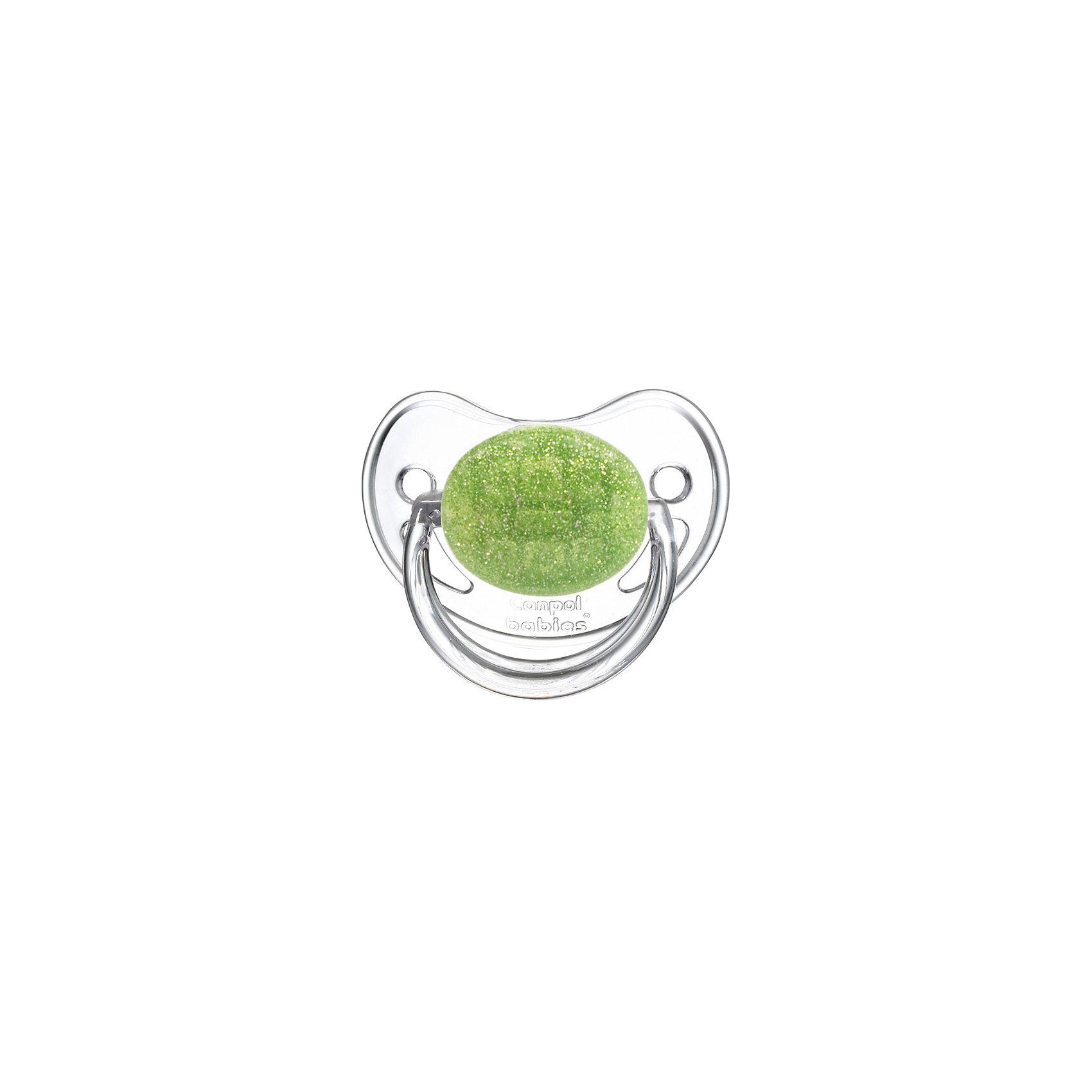 Пустышка круглая латексная, 6-18 Moonlight, Canpol Babies, зеленыйХарактеристики:<br><br>• Наименование: пустышка<br>• Пол: для девочки<br>• Материал: латекс, пластик<br>• Цвет: белый, зеленый<br>• Форма: круглая<br>• Наличие отверстий для вентиляции<br>• Наличие кольца для держателя<br>• Особенности ухода: регулярная стерилизация и своевременная замена<br><br>Пустышка круглая латексная, 6-18 Moonlight, Canpol Babies, зеленый имеет специальную форму, которая обеспечивает правильное давление на небо. Изготовлена из качественных и безопасных материалов. При правильном уходе обеспечивает длительное использование. У соски имеется ограничитель классической круглой формы с отверстиями для вентиляции и кольцо для держателя. Пустышка круглая латексная, 6-18 Moonlight, Canpol Babies, зеленый выполнена в стильном дизайне с эффектом серебристо-зеленого мерцания.<br><br>Пустышку круглую латексную, 6-18 Moonlight, Canpol Babies, зеленую можно купить в нашем интернет-магазине.<br><br>Ширина мм: 95<br>Глубина мм: 45<br>Высота мм: 155<br>Вес г: 110<br>Возраст от месяцев: 6<br>Возраст до месяцев: 18<br>Пол: Женский<br>Возраст: Детский<br>SKU: 5156635