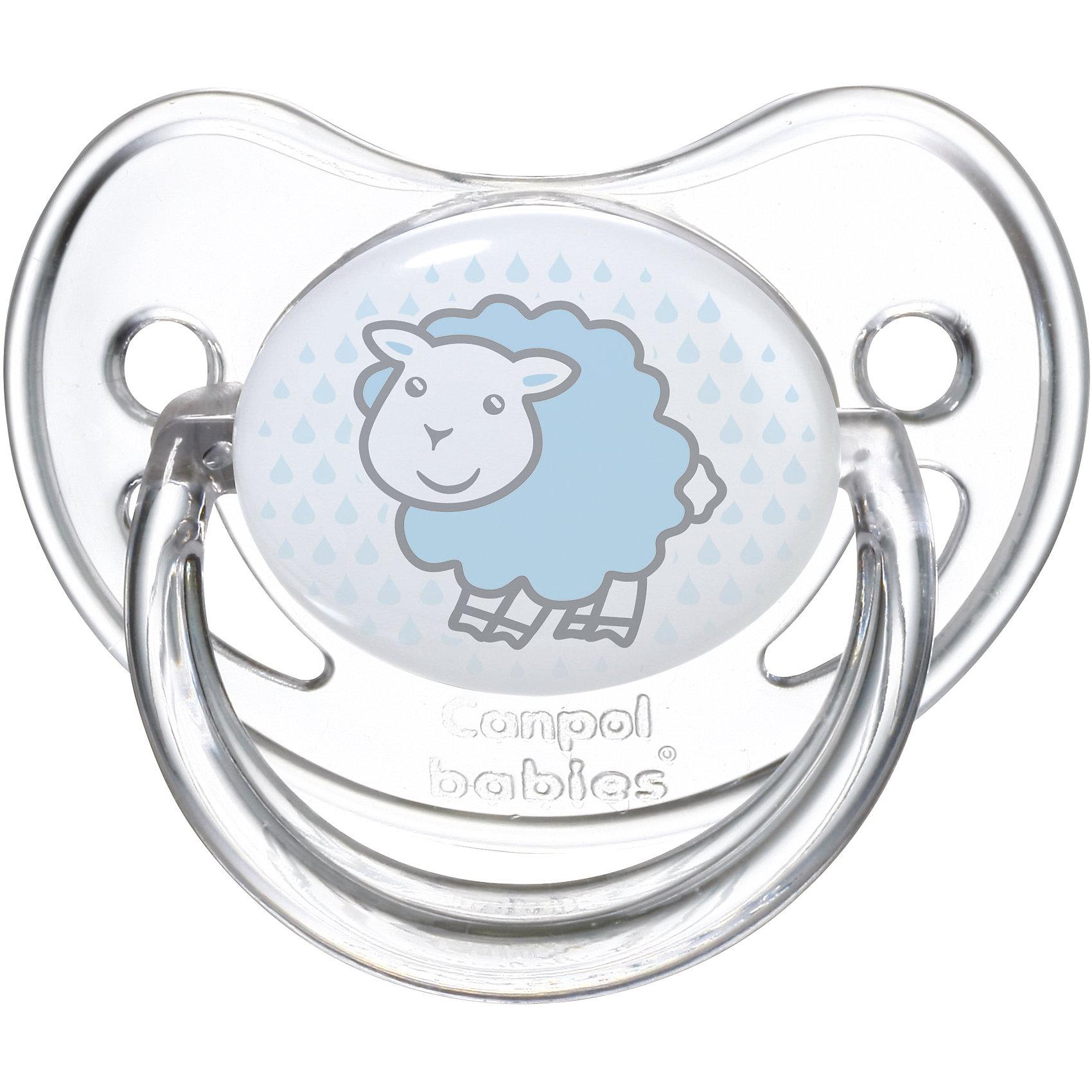 Пустышка круглая силиконовая 18+ Transparent, Canpol Babies, овечкаХарактеристики:<br><br>• Наименование: пустышка<br>• Пол: для мальчика<br>• Материал: силикон, пластик<br>• Цвет: белый, голубой<br>• Форма: круглая<br>• Наличие отверстий для вентиляции<br>• Наличие кольца для держателя<br>• Особенности ухода: регулярная стерилизация и своевременная замена<br><br>Пустышка круглая силиконовая 18+ Transparent, Canpol Babies, овечка имеет специальную форму, которая обеспечивает правильное давление на небо. Изготовлена из запатентованного вида силикона, который не имеет запаха. При правильном уходе обеспечивает длительное использование. У соски имеется ограничитель из прозрачного пластика классической круглой формы и кольцо для держателя. Пустышка круглая силиконовая 18+ Transparent, Canpol Babies, овечка выполнена в стильном дизайне с изображением милой овечки.<br><br>Пустышку круглую силиконовую 18+ Transparent, Canpol Babies, овечку можно купить в нашем интернет-магазине.<br><br>Ширина мм: 95<br>Глубина мм: 45<br>Высота мм: 155<br>Вес г: 110<br>Возраст от месяцев: 18<br>Возраст до месяцев: 36<br>Пол: Мужской<br>Возраст: Детский<br>SKU: 5156636