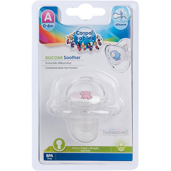 Пустышка круглая силиконовая, 0-6 Transparent, Canpol Babies, зайка