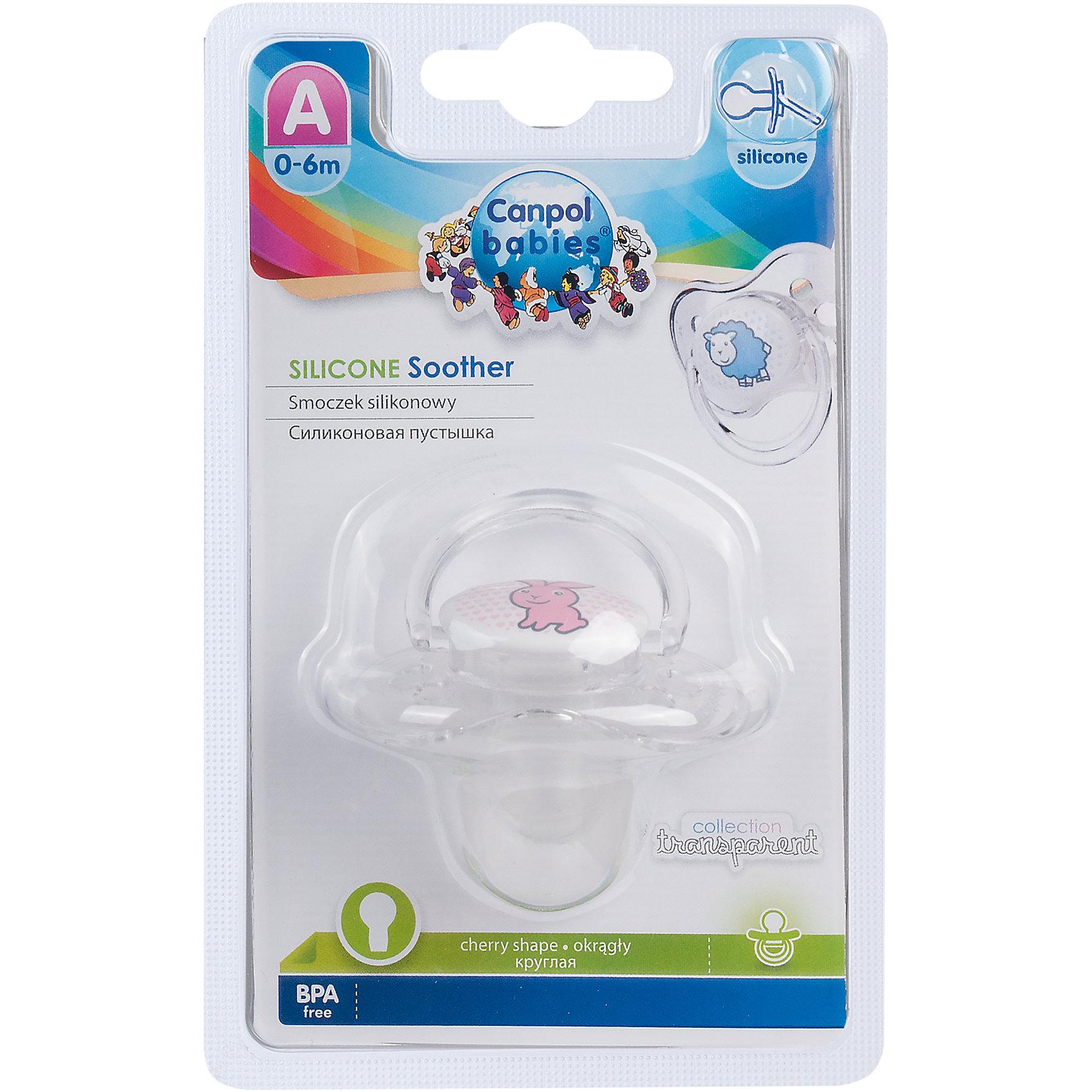 Пустышка круглая силиконовая, 0-6 Transparent, Canpol Babies, зайкаХарактеристики:<br><br>• Наименование: пустышка<br>• Пол: для девочки<br>• Материал: силикон, пластик<br>• Цвет: белый, розовый<br>• Форма: круглая<br>• Наличие отверстий для вентиляции<br>• Наличие кольца для держателя<br>• Особенности ухода: регулярная стерилизация и своевременная замена<br><br>Пустышка круглая силиконовая, 0-6, Transparent, Canpol Babies, зайка имеет специальную форму, которая обеспечивает правильное давление на небо. Изготовлена из запатентованного вида силикона, который не имеет запаха. При правильном уходе обеспечивает длительное использование. У соски имеется ограничитель из прозрачного пластика классической круглой формы и кольцо для держателя. Пустышка круглая силиконовая, 0-6, Transparent, Canpol Babies, зайка выполнена в стильном дизайне с изображением зайчонка.<br><br>Пустышку круглую силиконовую, 0-6, Transparent, Canpol Babies, зайку можно купить в нашем интернет-магазине.<br><br>Ширина мм: 95<br>Глубина мм: 45<br>Высота мм: 155<br>Вес г: 110<br>Возраст от месяцев: 0<br>Возраст до месяцев: 6<br>Пол: Женский<br>Возраст: Детский<br>SKU: 5156642