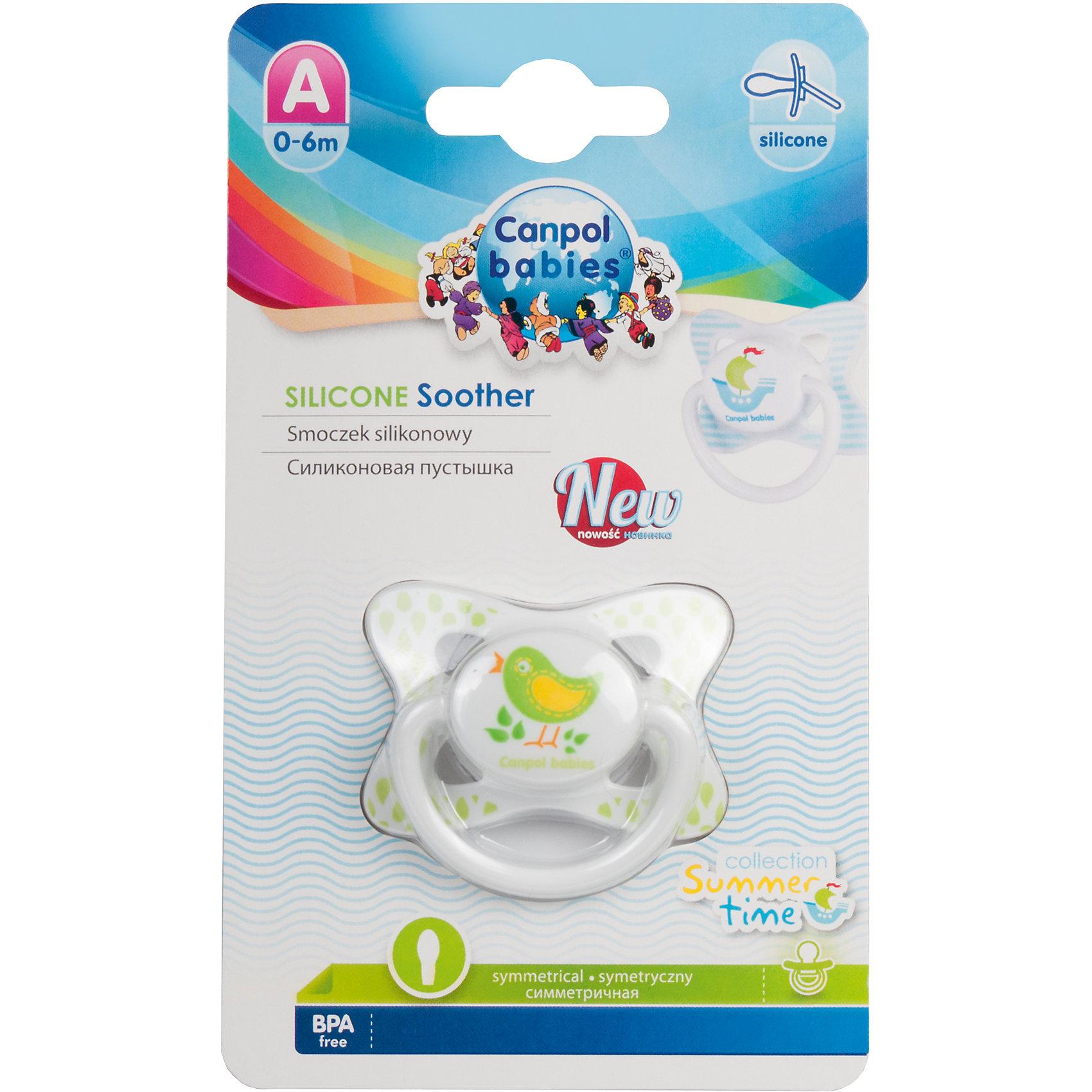 Canpol Babies Пустышка симметричная силиконовая, 0-6 Summertime, Canpol Babies, птичка goot desoldering wick remover 2 5mm x 1 5m