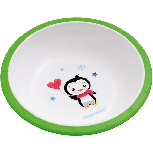 Миска пластиковая Пингвиненок Little cow, 4+ , Canpol Babies, зеленыйДетские тарелки<br>Миска пластиковая Little cow, 4+ , Canpol Babies (Канпол Беби), зеленый пингвиненок.<br><br>Характеристики:<br><br>• антискользящее дно<br>• приятный дизайн<br>• материал: пластик<br>• объем: 270 мл<br>• размер: 16х16х5,5 см<br><br>Пластиковая миска Little cow отлично подойдет для малышей, которые учатся есть самостоятельно. Миска имеет антискользящее дно, которое будет препятствовать опрокидыванию посуды во время еды. Она изготовлена из прочного пластика. Устойчивый рисунок поможет малышу всё скушать, чтобы поскорее увидеть забавного пингвиненка!<br><br>Миску пластиковую Little cow, 4+ , Canpol Babies (Канпол Беби), зеленый пингвиненок можно купить в нашем интернет-магазине.<br><br>Ширина мм: 160<br>Глубина мм: 55<br>Высота мм: 160<br>Вес г: 730<br>Возраст от месяцев: 4<br>Возраст до месяцев: 36<br>Пол: Унисекс<br>Возраст: Детский<br>SKU: 5156685
