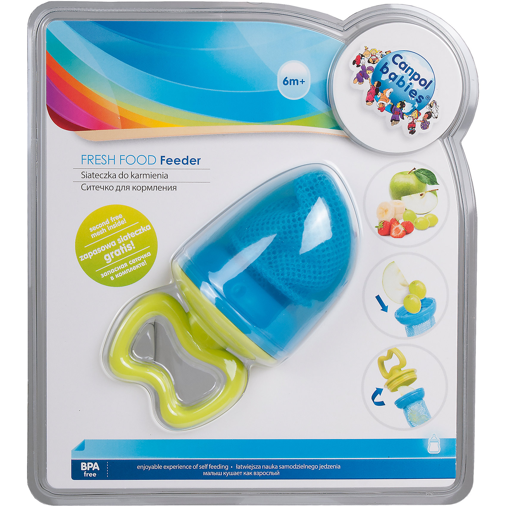 Ситечко для кормления 6+, Canpol Babies, синийСитечко для кормления 6+, Canpol Babies (КАНПОЛ БЕБИ), синий.<br><br>Характеристики:<br>• ручка удобна для ребенка<br>• есть защитный колпачок<br>• изготовлено из безопасных гипоаллергенных материалов<br>• материал: пластик, прочный текстиль<br>• размер упаковки: 21,5х17х7,5 см<br>• вес: 100 грамм<br>• цвет: синий<br><br>Ситечко Canpol Babies предназначено для малышей от 5 месяцев до года. С его помощью ребенок сможет плавно перейти от жидкой пищи к твердой. Положите фрукты, овощи или печенье в сеточку, закрепите ее - еда готова. Малыш сможет получить все полезные элементы из продуктов, не боясь подавиться. Удобная ручка позволит ребенку пользоваться ситечком самостоятельно. Яркий дизайн и удобная форма, несомненно, понравятся вашей крохе!<br><br>Ситечко для кормления 6+, Canpol Babies (КАНПОЛ БЕБИ), синий можно купить в нашем интернет-магазине.<br><br>Ширина мм: 170<br>Глубина мм: 75<br>Высота мм: 215<br>Вес г: 370<br>Возраст от месяцев: 6<br>Возраст до месяцев: 36<br>Пол: Мужской<br>Возраст: Детский<br>SKU: 5156689