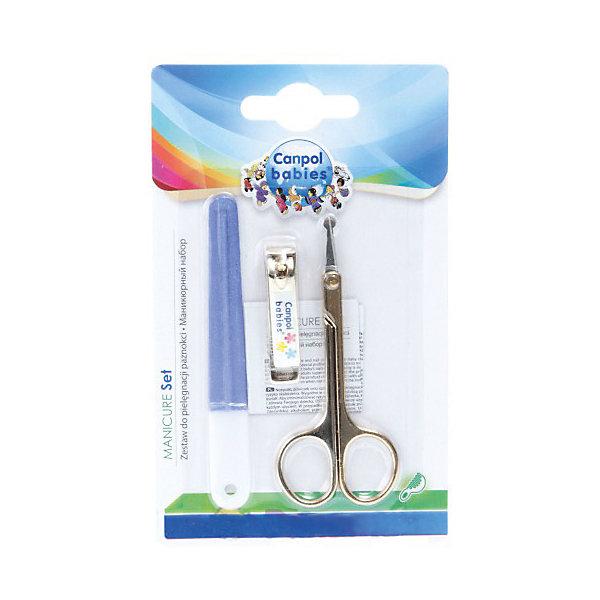 Маникюрный набор 0+, Canpol Babies, фиолетовыйНожницы и щипчики<br>Маникюрный набор 0+, Canpol Babies (Канпол беби), фиолетовый.<br><br>Характеристики:<br>• безопасны для ребенка<br>• удобная форма<br>• материал: пластик, металл<br>• в наборе: ножницы, щипчики, пилочка<br>• длина ножниц: 9 см<br>• длина щипчиков: 4 см<br>• длина пилочки: 9,5 см<br>• размер упаковки: 1,5х9,5х15,5 см<br>• цвет: фиолетовый<br><br>Набор Canpol Babies включает в себя ножницы, щипчики и пилочку. Все инструменты безопасны для малышей при использовании. Закругленные кончики ножниц не дадут ребенку поранится. Используя этот набор, вы можете быть уверены, что кроха не поцарапает себя из-за длинных ногтей.<br><br>Маникюрный набор 0+, Canpol Babies (Канпол беби), фиолетовый вы можете купить в нашем интернет-магазине.<br>Ширина мм: 95; Глубина мм: 15; Высота мм: 155; Вес г: 250; Возраст от месяцев: 0; Возраст до месяцев: 36; Пол: Унисекс; Возраст: Детский; SKU: 5156725;