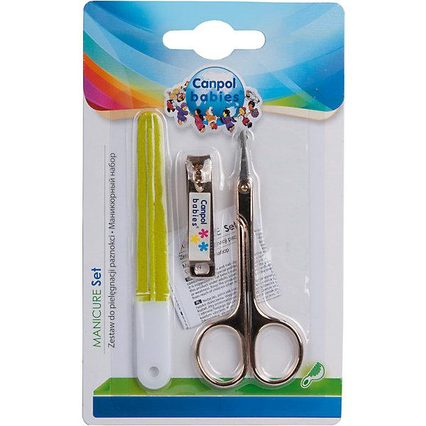 Маникюрный набор 0+, Canpol Babies, зеленыйНожницы и щипчики<br>Маникюрный набор 0+, Canpol Babies (Канпол беби), зеленый.<br><br>Характеристики:<br>• безопасны для ребенка<br>• удобная форма<br>• материал: пластик, металл<br>• в наборе: ножницы, щипчики, пилочка<br>• длина ножниц: 9 см<br>• длина щипчиков: 4 см<br>• длина пилочки: 9,5 см<br>• размер упаковки: 1,5х9,5х15,5 см<br>• цвет: зеленый<br><br>Набор Canpol Babies включает в себя ножницы, щипчики и пилочку. Все инструменты безопасны для малышей при использовании. Закругленные кончики ножниц не дадут ребенку поранится. Используя этот набор, вы можете быть уверены, что кроха не поцарапает себя из-за длинных ногтей.<br><br>Маникюрный набор 0+, Canpol Babies (Канпол беби), зеленый вы можете купить в нашем интернет-магазине.<br><br>Ширина мм: 95<br>Глубина мм: 15<br>Высота мм: 155<br>Вес г: 250<br>Возраст от месяцев: 0<br>Возраст до месяцев: 36<br>Пол: Унисекс<br>Возраст: Детский<br>SKU: 5156728