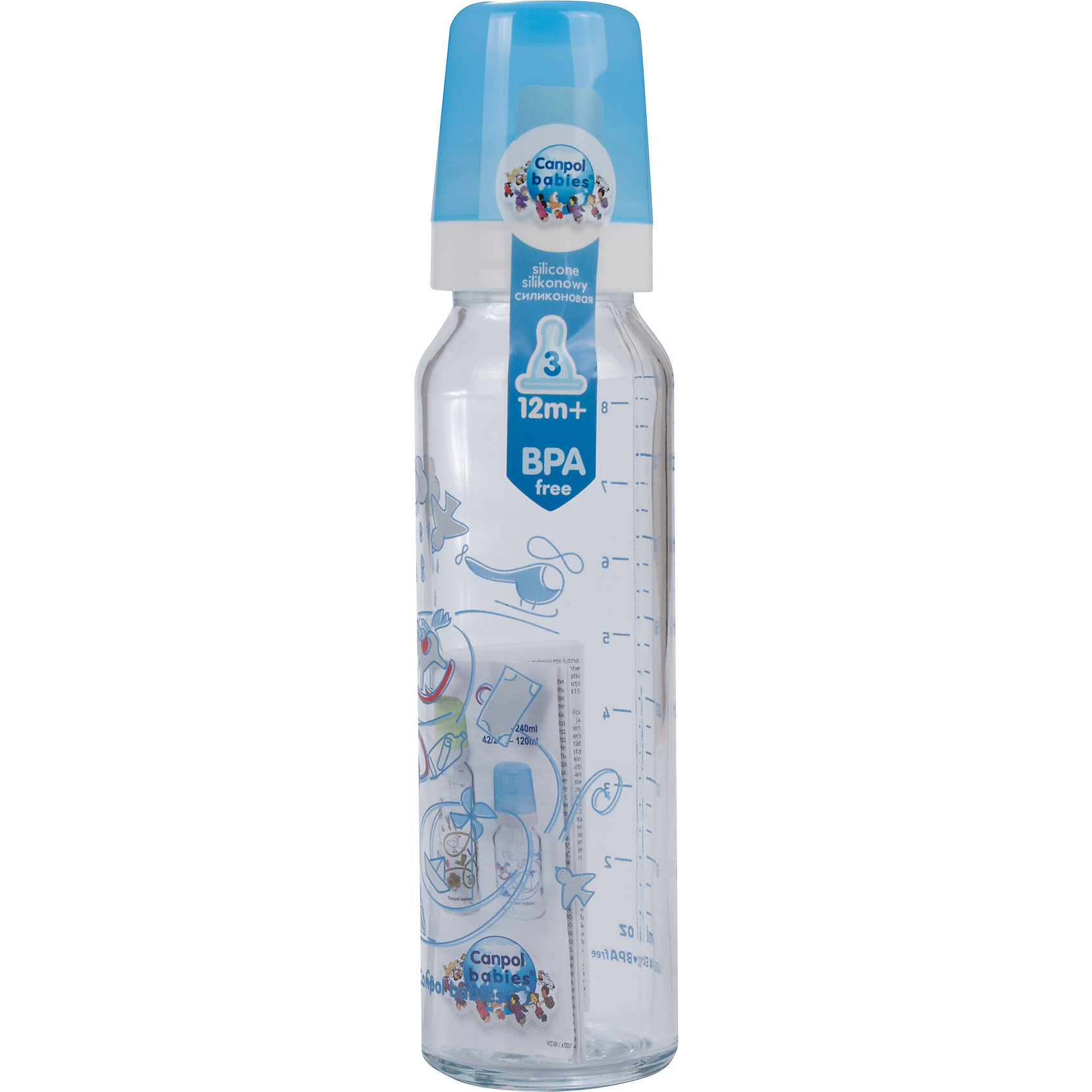 Бутылочка стеклянная с сил. соской, 240 мл. 12+, Canpol Babies, синийБутылочка стеклянная с сил. соской, 240 мл. 12+, Canpol Babies, (Канпол Бейбис), синий.<br><br>Характеристики: <br><br>• Объем бутылочки: 240мл.<br>• Материал бутылочки: закаленное стекло.<br>• Материал соски: силикон.<br>• Цвет : синий. <br>• Антиколиковая. <br><br>Бутылочка стеклянная с сил. соской, 240 мл. 12+, Canpol Babies, (Канпол Бейбис) имеет классическую форму и снабжена антиколиковой силиконовой соской. Удобна в использовании дома и в дороге. Бутылочка выполнена из безопасного качественного материала - закаленного стекла, которое хорошо держит тепло, снабжена антиколиковой силиконовой соской (быстрый поток) и защитным колпачком, имеет удобную мерную шкалу.  Такую бутылочку и все части можно кипятить в воде или стерилизовать с помощью специального прибора<br><br>Бутылочку стеклянная с сил. соской, 240 мл. 12+, Canpol Babies, (Канпол Бейбис), синий можно купить в нашем интернет- магазине.<br><br>Ширина мм: 54<br>Глубина мм: 54<br>Высота мм: 220<br>Вес г: 2160<br>Возраст от месяцев: 12<br>Возраст до месяцев: 36<br>Пол: Мужской<br>Возраст: Детский<br>SKU: 5156786