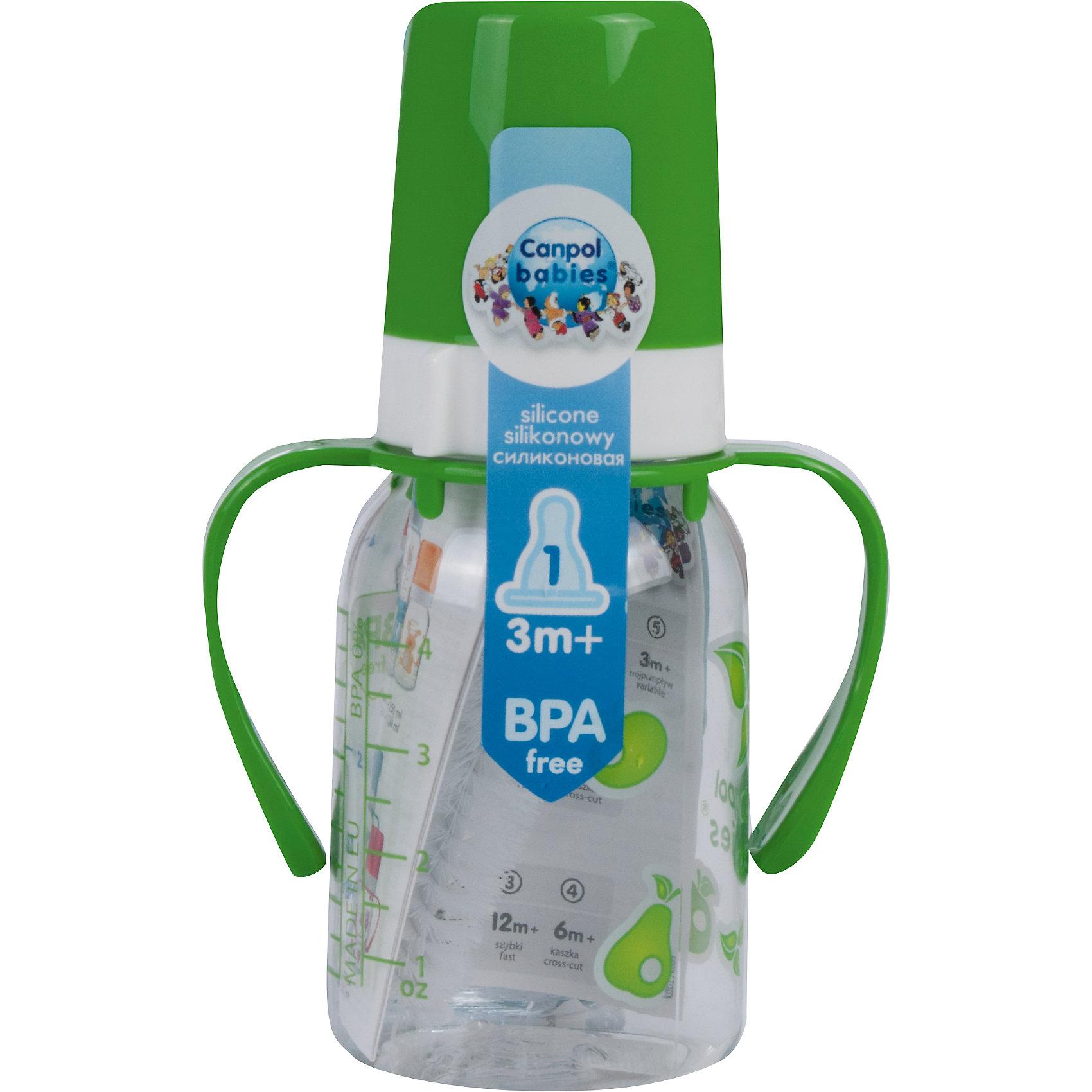 Бутылочка тритановая 120 мл. 3+, Canpol Babies, зеленый110 - 180 мл.<br>Бутылочка тритановая (BPA 0%) с ручками с сил. соской, 120 мл. 3+, Canpol Babies, (Канпол Бейбис), зеленый.<br><br>Характеристики: <br><br>• Объем бутылочки: 120мл.<br>• Материал бутылочки: тритан - пластик нового поколения.<br>• Материал соски: силикон.<br>• Цвет : зеленый. <br>• Удобные ручки.<br>Бутылочка тритановая (BPA 0%) с ручками с сил. соской, 120 мл. 3+, Canpol Babies, (Канпол Бейбис) имеет классическую форму и снабжена ручками. Удобна в использовании дома и в дороге. Бутылочка выполнена из безопасного качественного материала - тритана, который хорошо держит тепло, снабжена силиконовой соской (медленный поток) и защитным колпачком, имеет удобную мерную шкалу.  Такую бутылочку и все части можно кипятить в воде или стерилизовать с помощью специального прибора. Не впитывает запахи. По мере взросления малыш сможет самостоятельно пить из бутылочки, держа  ее за удобные ручки. <br>Бутылочку тритановая (BPA 0%) с ручками с сил. соской, 120 мл. 3+, Canpol Babies, (Канпол Бейбис), зеленый можно купить в нашем интернет- магазине.<br><br>Ширина мм: 175<br>Глубина мм: 55<br>Высота мм: 87<br>Вес г: 530<br>Возраст от месяцев: 3<br>Возраст до месяцев: 18<br>Пол: Унисекс<br>Возраст: Детский<br>SKU: 5156790
