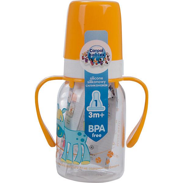 Бутылочка тритановая Лошадка 120 мл. 3+ Cheerful animals, Canpol Babies110 - 180 мл.<br>Бутылочка тритановая (BPA 0%) с ручками с сил. соской, 120 мл. 3+, Cheerful animals Canpol Babies, (Канпол Бейбис), лошадка.<br><br>Характеристики: <br><br>• Объем бутылочки: 120мл.<br>• Материал бутылочки: тритан - пластик нового поколения.<br>• Материал соски: силикон.<br>• Цвет :оранжевый.<br>• Удобные ручки.<br>Бутылочка тритановая (BPA 0%) с ручками с сил. соской, 120 мл. 3+, Canpol Babies, (Канпол Бейбис) ,лошадка имеет классическую форму и снабжена ручками. Удобна в использовании дома и в дороге. Бутылочка выполнена из безопасного качественного материала - тритана, который хорошо держит тепло, снабжена силиконовой соской (медленный поток) и защитным колпачком, имеет удобную мерную шкалу.  Такую бутылочку и все части можно кипятить в воде или стерилизовать с помощью специального прибора. Не впитывает запахи. По мере взросления малыш сможет самостоятельно пить из бутылочки, держа  ее за удобные ручки. Бутылочка украшена забавным принтом в виде лошадки.<br>Бутылочку тритановая (BPA 0%) с ручками с сил. соской, 120 мл. 3+, Cheerful animals Canpol Babies, (Канпол Бейбис), лошадка  можно купить в нашем интернет- магазине.<br><br>Ширина мм: 175<br>Глубина мм: 85<br>Высота мм: 55<br>Вес г: 560<br>Возраст от месяцев: 3<br>Возраст до месяцев: 18<br>Пол: Унисекс<br>Возраст: Детский<br>SKU: 5156791