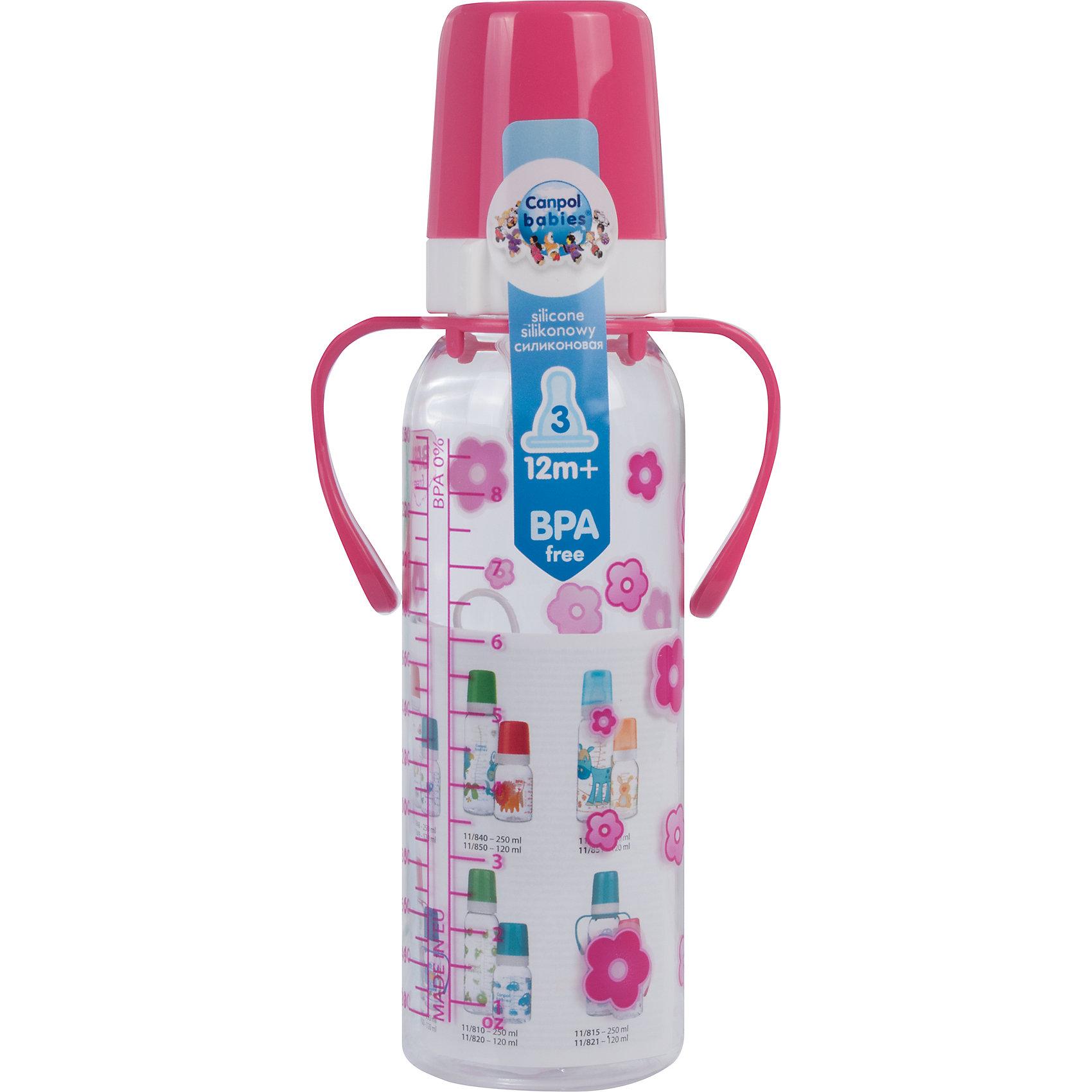 Бутылочка тритановая 250 мл. 12+, Canpol Babies, красныйБутылочки и аксессуары<br>Бутылочка тритановая (BPA 0%) с ручками с сил. соской, 250 мл. 12+, Canpol Babies, (Канпол Бейбис), розовый.<br><br>Характеристики: <br><br>• Объем бутылочки: 250 мл.<br>• Материал бутылочки: тритан - пластик нового поколения.<br>• Материал соски: силикон.<br>• Цвет : розовый. <br>• Удобные ручки.<br>Бутылочка тритановая (BPA 0%) с ручками с сил. соской, 250 мл. 12+, Canpol Babies, (Канпол Бейбис) имеет классическую форму и снабжена ручками. Удобна в использовании дома и в дороге. Бутылочка выполнена из безопасного качественного материала - тритана, который хорошо держит тепло, снабжена силиконовой соской (быстрый поток) и защитным колпачком, имеет удобную мерную шкалу.  Такую бутылочку и все части можно кипятить в воде или стерилизовать с помощью специального прибора. Не впитывает запахи. По мере взросления малыш сможет самостоятельно пить из бутылочки, держа  ее за удобные ручки. <br>Бутылочку тритановая (BPA 0%) с ручками с сил. соской, 250 мл. 12+, Canpol Babies, (Канпол Бейбис), розовый можно купить в нашем интернет- магазине.<br><br>Ширина мм: 90<br>Глубина мм: 54<br>Высота мм: 235<br>Вес г: 710<br>Возраст от месяцев: 12<br>Возраст до месяцев: 36<br>Пол: Унисекс<br>Возраст: Детский<br>SKU: 5156792