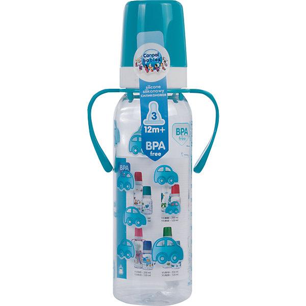 Бутылочка тритановая 250 мл. 12+, Canpol Babies, бирюзовый210 - 281 мл.<br>Бутылочка тритановая (BPA 0%) с ручками с сил. соской, 250 мл. 12+, Canpol Babies, (Канпол Бейбис), бирюзовый.<br><br>Характеристики: <br><br>• Объем бутылочки: 250мл.<br>• Материал бутылочки: тритан - пластик нового поколения.<br>• Материал соски: силикон.<br>• Цвет : бирюзовый. <br>• Удобные ручки.<br>Бутылочка тритановая (BPA 0%) с ручками с сил. соской, 250 мл. 12+, Canpol Babies, (Канпол Бейбис) имеет классическую форму и снабжена ручками. Удобна в использовании дома и в дороге. Бутылочка выполнена из безопасного качественного материала - тритана, который хорошо держит тепло, снабжена силиконовой соской (быстрый поток) и защитным колпачком, имеет удобную мерную шкалу.  Такую бутылочку и все части можно кипятить в воде или стерилизовать с помощью специального прибора. Не впитывает запахи. По мере взросления малыш сможет самостоятельно пить из бутылочки, держа  ее за удобные ручки. Забавный принт безусловно привлечет внимание вашего малыша.<br>Бутылочку тритановая (BPA 0%) с ручками с сил. соской, 250 мл. 12+, Canpol Babies, (Канпол Бейбис), бирюзовый можно купить в нашем интернет- магазине.<br><br>Ширина мм: 90<br>Глубина мм: 54<br>Высота мм: 235<br>Вес г: 710<br>Возраст от месяцев: 12<br>Возраст до месяцев: 36<br>Пол: Мужской<br>Возраст: Детский<br>SKU: 5156793