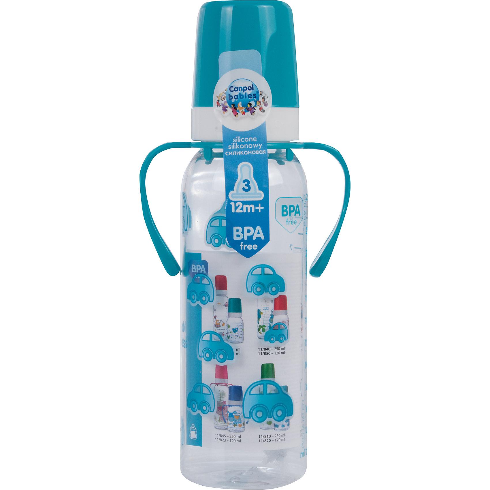Бутылочка тритановая 250 мл. 12+, Canpol Babies, бирюзовыйБутылочка тритановая (BPA 0%) с ручками с сил. соской, 250 мл. 12+, Canpol Babies, (Канпол Бейбис), бирюзовый.<br><br>Характеристики: <br><br>• Объем бутылочки: 250мл.<br>• Материал бутылочки: тритан - пластик нового поколения.<br>• Материал соски: силикон.<br>• Цвет : бирюзовый. <br>• Удобные ручки.<br>Бутылочка тритановая (BPA 0%) с ручками с сил. соской, 250 мл. 12+, Canpol Babies, (Канпол Бейбис) имеет классическую форму и снабжена ручками. Удобна в использовании дома и в дороге. Бутылочка выполнена из безопасного качественного материала - тритана, который хорошо держит тепло, снабжена силиконовой соской (быстрый поток) и защитным колпачком, имеет удобную мерную шкалу.  Такую бутылочку и все части можно кипятить в воде или стерилизовать с помощью специального прибора. Не впитывает запахи. По мере взросления малыш сможет самостоятельно пить из бутылочки, держа  ее за удобные ручки. Забавный принт безусловно привлечет внимание вашего малыша.<br>Бутылочку тритановая (BPA 0%) с ручками с сил. соской, 250 мл. 12+, Canpol Babies, (Канпол Бейбис), бирюзовый можно купить в нашем интернет- магазине.<br><br>Ширина мм: 90<br>Глубина мм: 54<br>Высота мм: 235<br>Вес г: 710<br>Возраст от месяцев: 12<br>Возраст до месяцев: 36<br>Пол: Мужской<br>Возраст: Детский<br>SKU: 5156793