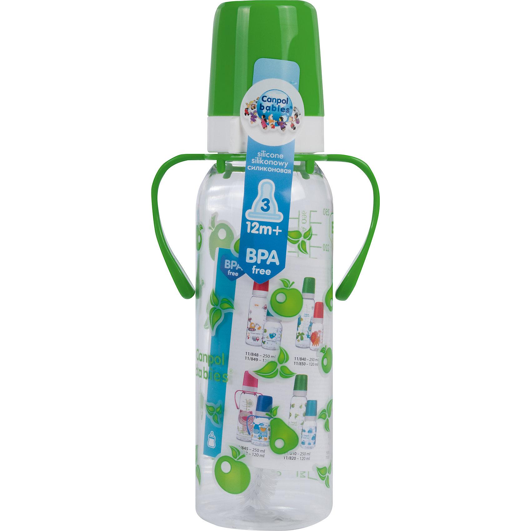 Бутылочка тритановая 250 мл. 12+, Canpol Babies, зеленый210 - 281 мл.<br>Бутылочка тритановая (BPA 0%) с ручками с сил. соской, 250 мл. 12+, Canpol Babies, (Канпол Бейбис), зеленый.<br><br>Характеристики: <br><br>• Объем бутылочки: 250 мл.<br>• Материал бутылочки: тритан - пластик нового поколения.<br>• Материал соски: силикон.<br>• Цвет : зеленый. <br>• Удобные ручки.<br>Бутылочка тритановая (BPA 0%) с ручками с сил. соской, 250 мл. 12+, Canpol Babies, (Канпол Бейбис) имеет классическую форму и снабжена ручками. Удобна в использовании дома и в дороге. Бутылочка выполнена из безопасного качественного материала - тритана, который хорошо держит тепло, снабжена силиконовой соской (быстрый поток) и защитным колпачком, имеет удобную мерную шкалу.  Такую бутылочку и все части можно кипятить в воде или стерилизовать с помощью специального прибора. Не впитывает запахи. По мере взросления малыш сможет самостоятельно пить из бутылочки, держа  ее за удобные ручки. Забавный принт безусловно привлечет внимание вашего малыша.<br>Бутылочку тритановая (BPA 0%) с ручками с сил. соской, 250 мл. 12+, Canpol Babies, (Канпол Бейбис), зеленый можно купить в нашем интернет- магазине.<br><br>Ширина мм: 90<br>Глубина мм: 54<br>Высота мм: 235<br>Вес г: 710<br>Возраст от месяцев: 12<br>Возраст до месяцев: 36<br>Пол: Унисекс<br>Возраст: Детский<br>SKU: 5156794