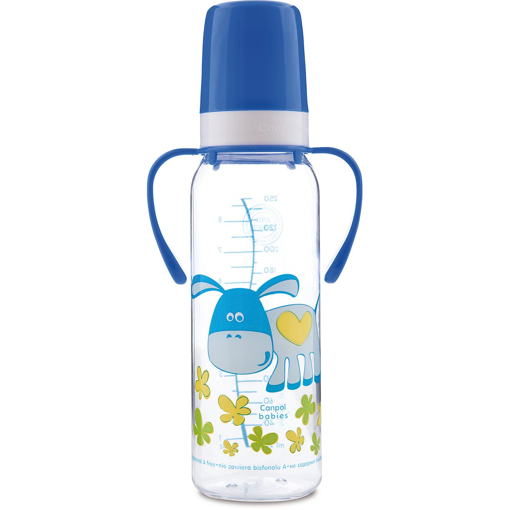 Бутылочка тритановая Ослик 250 мл. 12+ Cheerful animals, Canpol BabiesБутылочка тритановая (BPA 0%) с ручками с сил. соской, 250 мл. 12+, Cheerful animals Canpol Babies, (Канпол Бейбис), ослик.<br><br>Характеристики: <br><br>• Объем бутылочки: 250 мл.<br>• Материал бутылочки: тритан - пластик нового поколения.<br>• Материал соски: силикон.<br>• Цвет :синий.<br>• Удобные ручки.<br>Бутылочка тритановая (BPA 0%) с ручками с сил. соской, 250 мл. 12+, Canpol Babies, (Канпол Бейбис) , ослик имеет классическую форму и снабжена ручками. Удобна в использовании дома и в дороге. Бутылочка выполнена из безопасного качественного материала - тритана, который хорошо держит тепло, снабжена силиконовой соской и защитным колпачком, имеет удобную мерную шкалу.  Такую бутылочку и все части можно кипятить в воде или стерилизовать с помощью специального прибора. Не впитывает запахи. По мере взросления малыш сможет самостоятельно пить из бутылочки, держа  ее за удобные ручки. Бутылочка украшена забавным принтом в виде ослика.<br>Бутылочку тритановая (BPA 0%) с ручками с сил. соской, 250 мл. 12+, Cheerful animals Canpol Babies, (Канпол Бейбис), ослик  можно купить в нашем интернет- магазине.<br><br>Ширина мм: 87<br>Глубина мм: 55<br>Высота мм: 240<br>Вес г: 710<br>Возраст от месяцев: 12<br>Возраст до месяцев: 36<br>Пол: Унисекс<br>Возраст: Детский<br>SKU: 5156796