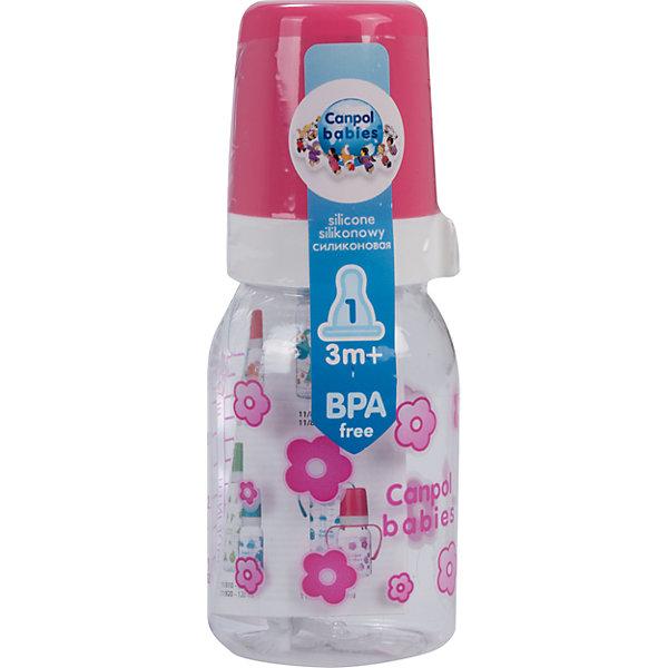 Бутылочка тритановая (BPA 0%) с сил. соской, 120 мл. 3+, Canpol Babies, розовый110 - 180 мл.<br>Бутылочка тритановая (BPA 0%) с сил. соской, 120 мл. 3+, Canpol Babies, (Канпол Бейбис), розовый.<br><br>Характеристики: <br><br>• Объем бутылочки: 120мл.<br>• Материал бутылочки: тритан - пластик нового поколения.<br>• Материал соски: силикон.<br>• Цвет : розовый. <br>Бутылочка тритановая (BPA 0%) с сил. соской, 120 мл. 3+, Canpol Babies, (Канпол Бейбис) имеет классическую форму. Удобна в использовании дома и в дороге. Бутылочка выполнена из безопасного качественного материала - тритана, который хорошо держит тепло, снабжена силиконовой соской (медленный поток) и защитным колпачком, имеет удобную мерную шкалу.  Такую бутылочку и все части можно кипятить в воде или стерилизовать с помощью специального прибора. Не впитывает запахи.<br>Бутылочку тритановая (BPA 0%) с сил. соской, 120 мл. 3+, Canpol Babies, (Канпол Бейбис), розовый можно купить в нашем интернет- магазине.<br><br>Ширина мм: 61<br>Глубина мм: 54<br>Высота мм: 171<br>Вес г: 490<br>Возраст от месяцев: 3<br>Возраст до месяцев: 18<br>Пол: Женский<br>Возраст: Детский<br>SKU: 5156798