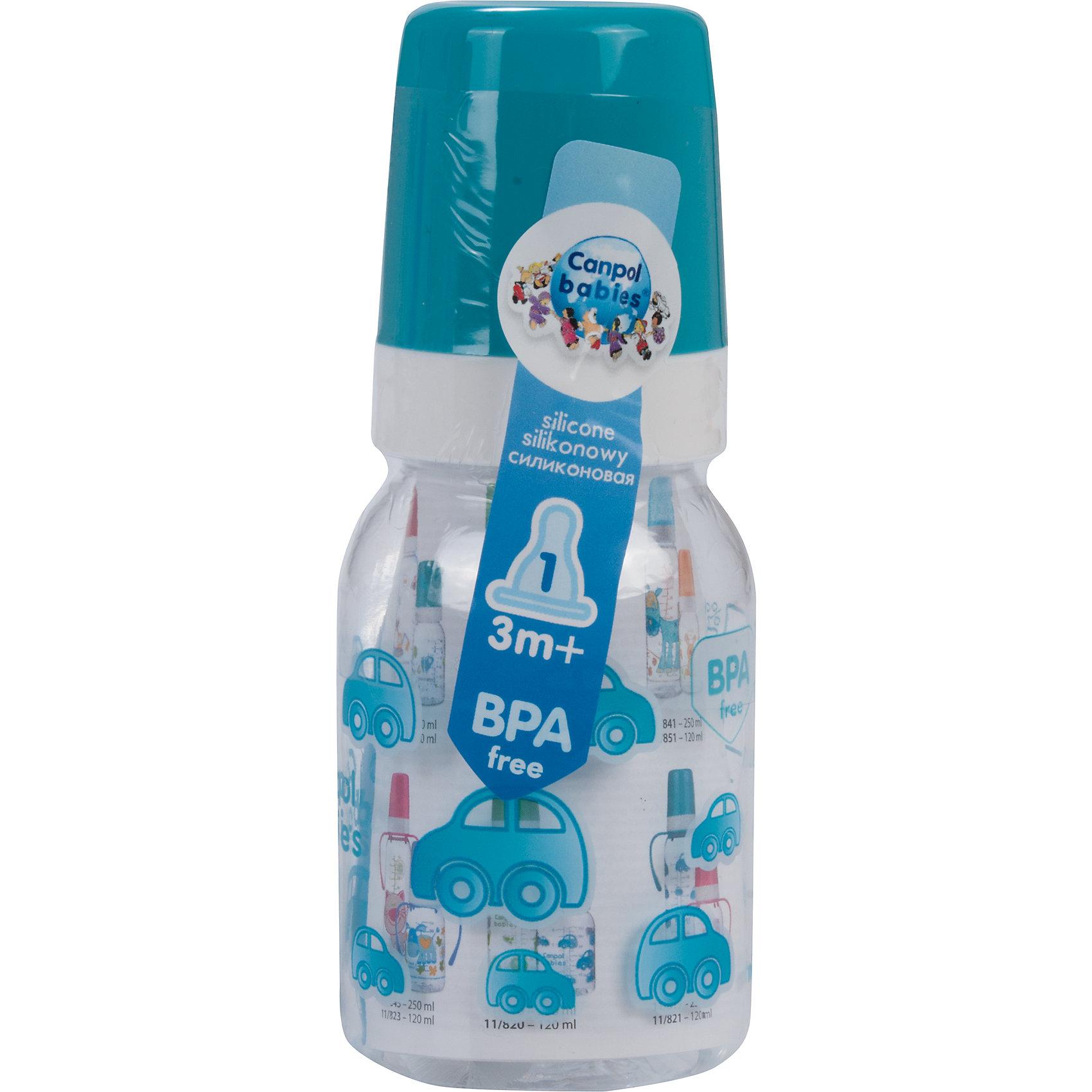Бутылочка тритановая (BPA 0%) с сил. соской, 120 мл. 3+, Canpol Babies, бирюзовыйБутылочка тритановая (BPA 0%) с сил. соской, 120 мл. 3+, Canpol Babies, (Канпол Бейбис), бирюзовый.<br><br>Характеристики: <br><br>• Объем бутылочки: 120мл.<br>• Материал бутылочки: тритан - пластик нового поколения.<br>• Материал соски: силикон.<br>• Цвет : бирюзовый. <br>Бутылочка тритановая (BPA 0%) с сил. соской, 120 мл. 3+, Canpol Babies, (Канпол Бейбис) имеет классическую форму. Удобна в использовании дома и в дороге. Бутылочка выполнена из безопасного качественного материала - тритана, который хорошо держит тепло, снабжена силиконовой соской (медленный поток) и защитным колпачком, имеет удобную мерную шкалу.  Такую бутылочку и все части можно кипятить в воде или стерилизовать с помощью специального прибора. Не впитывает запахи.<br>Бутылочку тритановая (BPA 0%) с сил. соской, 120 мл. 3+, Canpol Babies, (Канпол Бейбис), бирюзовый можно купить в нашем интернет- магазине.<br><br>Ширина мм: 61<br>Глубина мм: 54<br>Высота мм: 171<br>Вес г: 490<br>Возраст от месяцев: 3<br>Возраст до месяцев: 18<br>Пол: Мужской<br>Возраст: Детский<br>SKU: 5156799