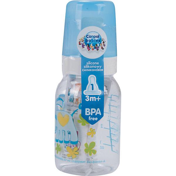 Бутылочка тритановая (BPA 0%) с сил. соской, 120 мл. 3+ Cheerful animals, Canpol Babies, ослик110 - 180 мл.<br>Бутылочка тритановая (BPA 0%) с сил. соской, 120 мл. 3+ Cheerful animals, Canpol Babies, (Канпол Бейбис), ослик.<br><br>Характеристики: <br><br>• Объем бутылочки: 120мл.<br>• Материал бутылочки: тритан - пластик нового поколения.<br>• Материал соски: силикон.<br>• Цвет : голубой. <br>Бутылочка тритановая (BPA 0%) с сил. соской, 120 мл. 3+ Cheerful animals, Canpol Babies, (Канпол Бейбис) имеет классическую форму. Удобна в использовании дома и в дороге. Бутылочка выполнена из безопасного качественного материала - тритана, который хорошо держит тепло, снабжена силиконовой соской (медленный поток) и защитным колпачком, имеет удобную мерную шкалу.  Такую бутылочку и все части можно кипятить в воде или стерилизовать с помощью специального прибора. Не впитывает запахи. Бутылочка выполнена в голубом цвете, украшена  забавным принтом – ослик.<br>Бутылочка тритановая (BPA 0%) с сил. соской, 120 мл. 3+ Cheerful animals, Canpol Babies, (Канпол Бейбис), ослик можно купить в нашем интернет- магазине.<br><br>Ширина мм: 65<br>Глубина мм: 54<br>Высота мм: 175<br>Вес г: 520<br>Возраст от месяцев: 3<br>Возраст до месяцев: 18<br>Пол: Унисекс<br>Возраст: Детский<br>SKU: 5156802