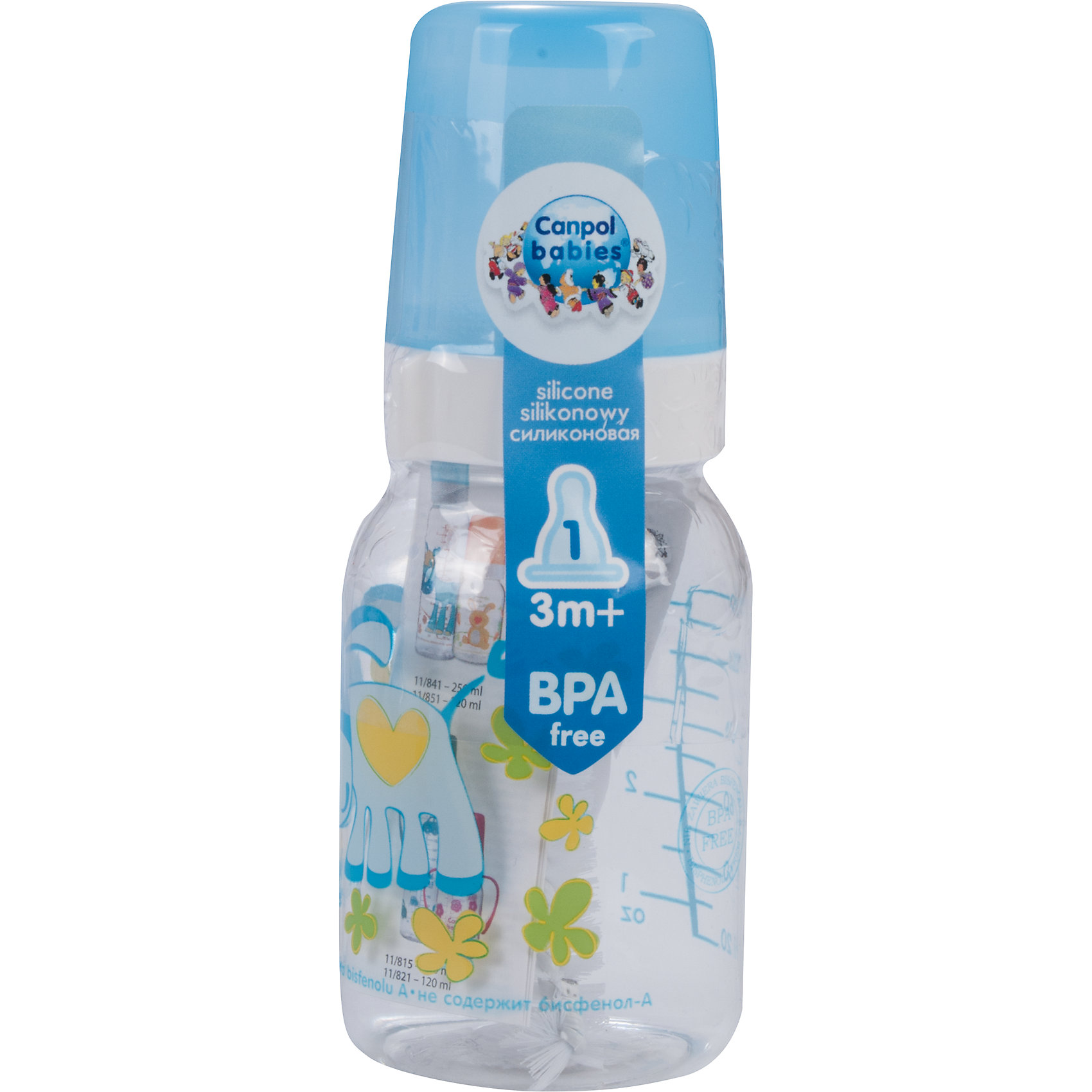 Canpol Babies Бутылочка тритановая (BPA 0%) с сил. соской, 120 мл. 3+ Cheerful animals, Canpol Babies, ослик canpol babies бутылочка тритановая bpa 0