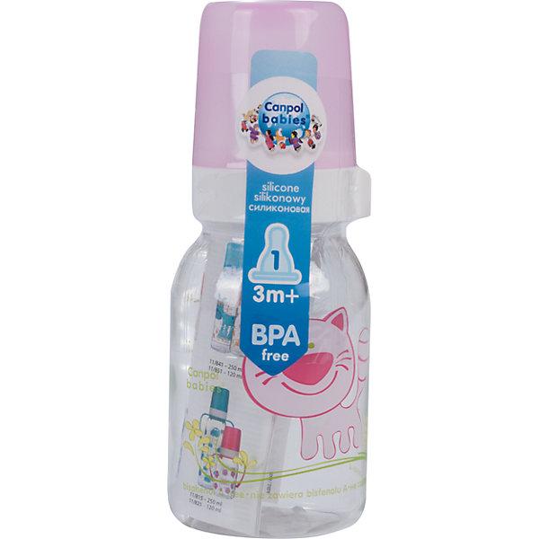 Бутылочка тритановая (BPA 0%) с сил. соской, 120 мл. 3+ Cheerful animals, Canpol Babies, котенок110 - 180 мл.<br>Бутылочка тритановая (BPA 0%) с сил. соской, 120 мл. 3+ Cheerful animals, Canpol Babies, (Канпол Бейбис), котенок.<br><br>Характеристики: <br><br>• Объем бутылочки: 120мл.<br>• Материал бутылочки: тритан - пластик нового поколения.<br>• Материал соски: силикон.<br>• Цвет : нежно - розовый. <br>Бутылочка тритановая (BPA 0%) с сил. соской, 120 мл. 3+ Cheerful animals, Canpol Babies, (Канпол Бейбис) имеет классическую форму. Удобна в использовании дома и в дороге. Бутылочка выполнена из безопасного качественного материала - тритана, который хорошо держит тепло, снабжена силиконовой соской (медленный поток) и защитным колпачком, имеет удобную мерную шкалу.  Такую бутылочку и все части можно кипятить в воде или стерилизовать с помощью специального прибора. Не впитывает запахи. Бутылочка выполнена в нежно - розовом цвете, украшена  забавным принтом – котенок.<br>Бутылочка тритановая (BPA 0%) с сил. соской, 120 мл. 3+ Cheerful animals, Canpol Babies, (Канпол Бейбис), котенок можно купить в нашем интернет- магазине.<br><br>Ширина мм: 65<br>Глубина мм: 54<br>Высота мм: 175<br>Вес г: 520<br>Возраст от месяцев: 3<br>Возраст до месяцев: 18<br>Пол: Унисекс<br>Возраст: Детский<br>SKU: 5156803