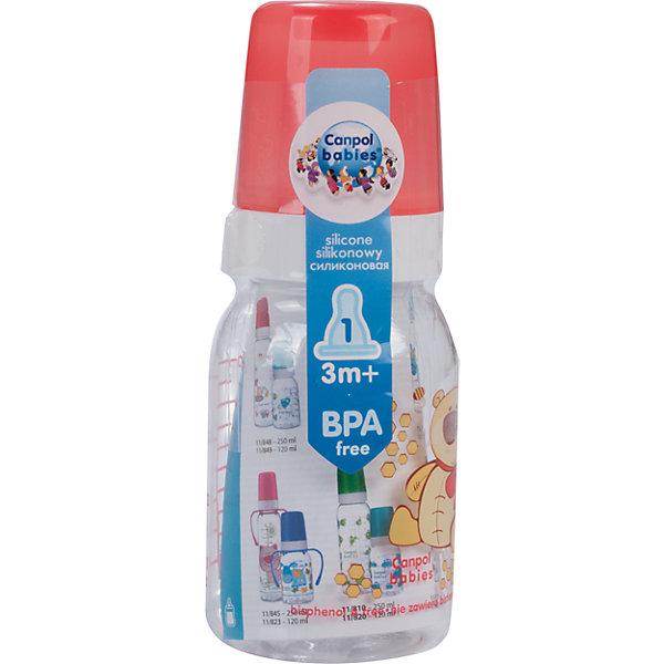 Бутылочка тритановая (BPA 0%) с сил. соской, 120 мл. 3+ Cheerful animals, Canpol Babies, мишка110 - 180 мл.<br>Бутылочка тритановая (BPA 0%) с сил. соской, 120 мл. 3+ Cheerful animals, Canpol Babies, (Канпол Бейбис), мишка.<br><br>Характеристики: <br><br>• Объем бутылочки: 120мл.<br>• Материал бутылочки: тритан - пластик нового поколения.<br>• Материал соски: силикон.<br>• Цвет : красный. <br>Бутылочка тритановая (BPA 0%) с сил. соской, 120 мл. 3+ Cheerful animals, Canpol Babies, (Канпол Бейбис) имеет классическую форму. Удобна в использовании дома и в дороге. Бутылочка выполнена из безопасного качественного материала - тритана, который хорошо держит тепло, снабжена силиконовой соской (медленный поток) и защитным колпачком, имеет удобную мерную шкалу.  Такую бутылочку и все части можно кипятить в воде или стерилизовать с помощью специального прибора. Не впитывает запахи. Бутылочка выполнена в красном цвете, украшена  забавным принтом – мишка.<br>Бутылочка тритановая (BPA 0%) с сил. соской, 120 мл. 3+ Cheerful animals, Canpol Babies, (Канпол Бейбис), мишка можно купить в нашем интернет- магазине.<br><br>Ширина мм: 65<br>Глубина мм: 54<br>Высота мм: 175<br>Вес г: 520<br>Возраст от месяцев: 3<br>Возраст до месяцев: 18<br>Пол: Унисекс<br>Возраст: Детский<br>SKU: 5156804