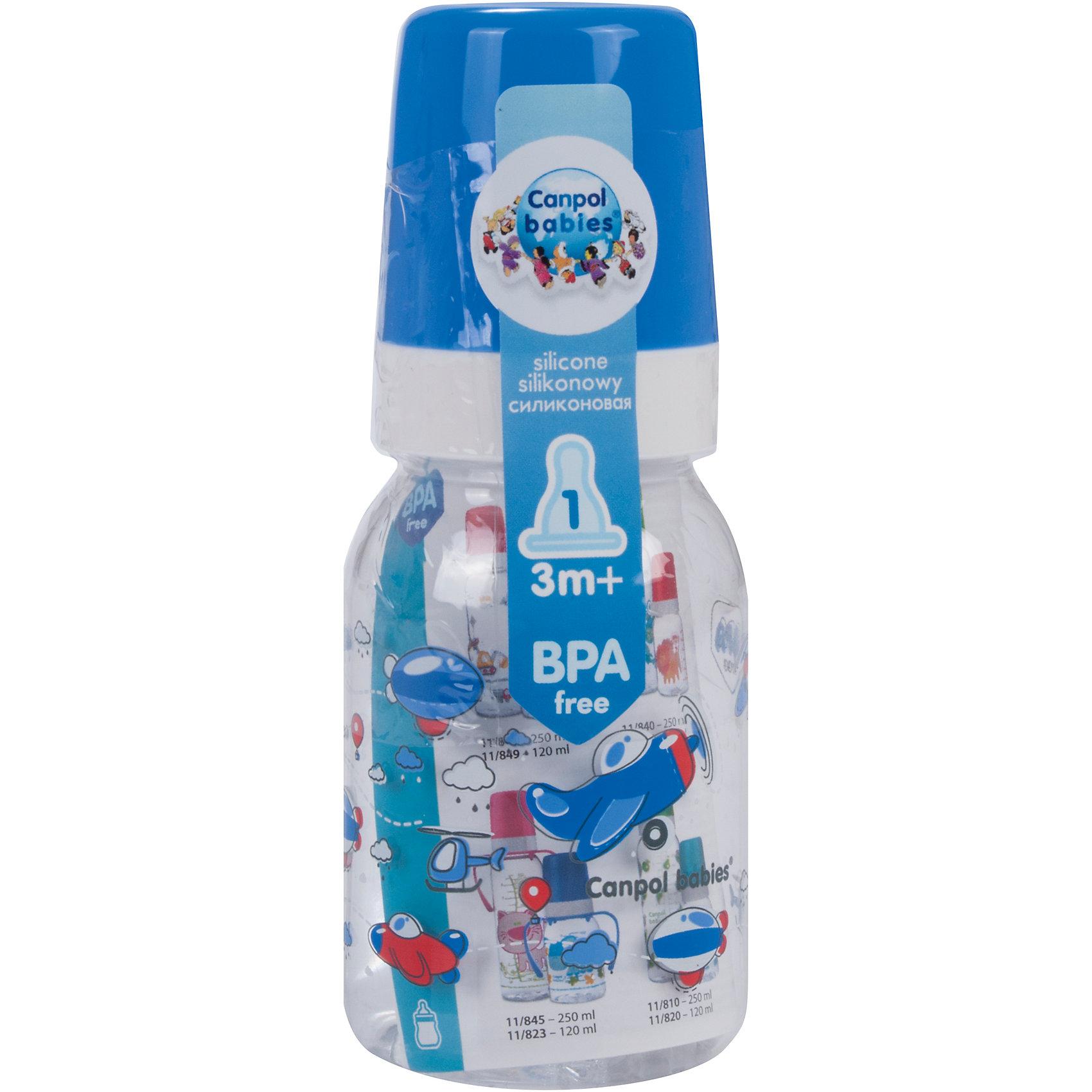 Canpol Babies Бутылочка тритановая (BPA 0%) с сил. соской, 120 мл. 3+ Machines, Canpol Babies, синий canpol babies бутылочка тритановая bpa 0