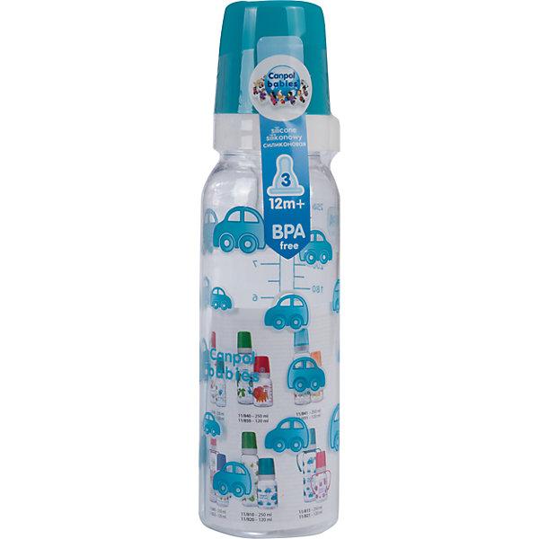 Бутылочка тритановая (BPA 0%) с сил. соской, 250 мл. 12+, Canpol Babies, бирюзовыйБутылочки и аксессуары<br>Бутылочка тритановая (BPA 0%) с сил. соской, 250 мл. 12+, Canpol Babies, (Канпол Бейбис), бирюзовый.<br><br>Характеристики: <br><br>• Объем бутылочки: 250 мл.<br>• Материал бутылочки: тритан - пластик нового поколения.<br>• Материал соски: силикон.<br>• Цвет : бирюзовый. <br>Бутылочка тритановая (BPA 0%) с сил. соской, 250 мл. 12+, Canpol Babies, (Канпол Бейбис) имеет классическую форму. Удобна в использовании дома и в дороге. Бутылочка выполнена из безопасного качественного материала - тритана, который хорошо держит тепло, снабжена силиконовой соской (быстрый поток) и защитным колпачком, имеет удобную мерную шкалу.  Такую бутылочку и все части можно кипятить в воде или стерилизовать с помощью специального прибора. Не впитывает запахи. Бутылочка выполнена в бирюзовом цвете и украшена забавным принтом.<br>Бутылочку тритановая (BPA 0%) с сил. соской, 250 мл. 12+, Canpol Babies, (Канпол Бейбис), бирюзовый можно купить в нашем интернет- магазине.<br><br>Ширина мм: 65<br>Глубина мм: 54<br>Высота мм: 235<br>Вес г: 670<br>Возраст от месяцев: 12<br>Возраст до месяцев: 36<br>Пол: Мужской<br>Возраст: Детский<br>SKU: 5156807