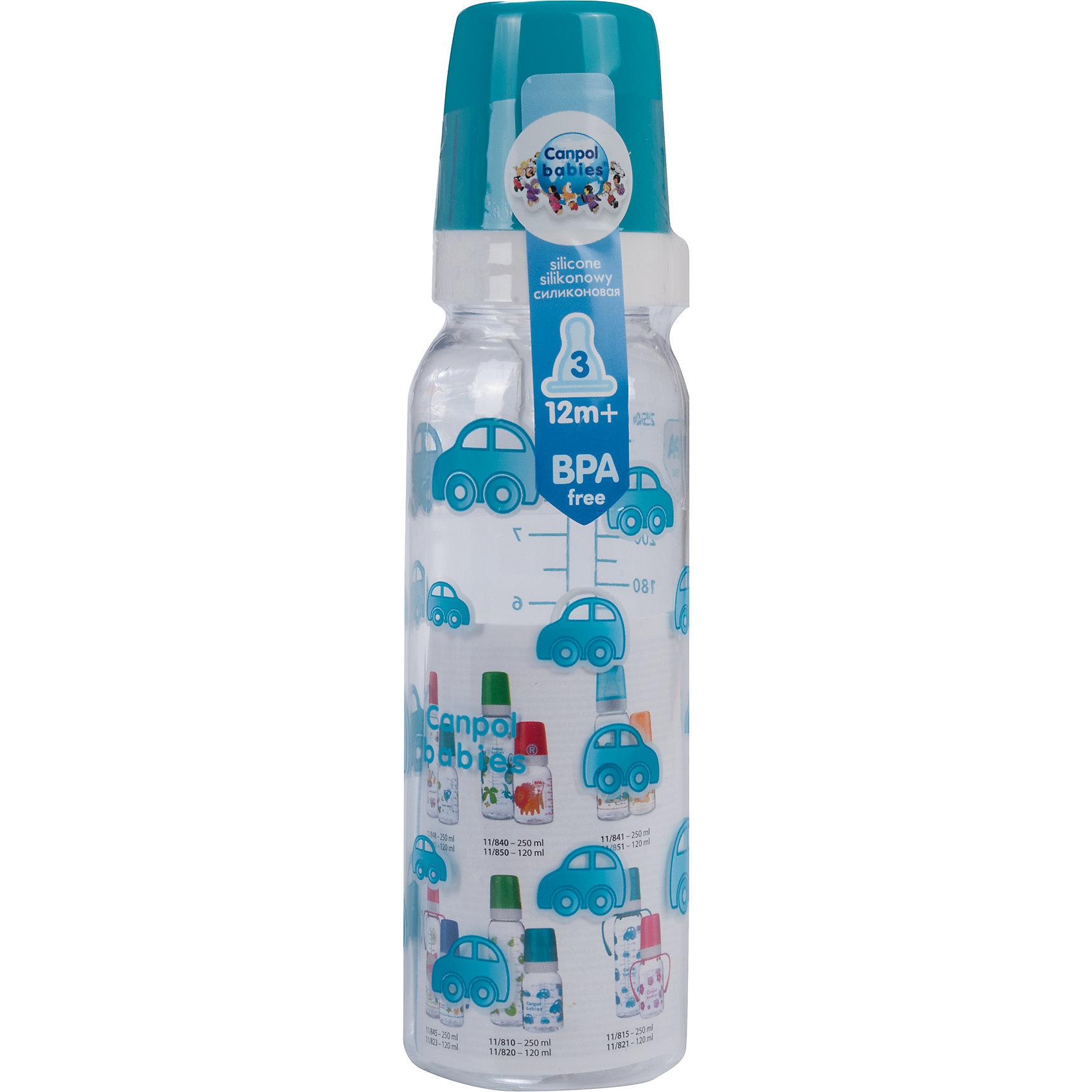 Бутылочка тритановая (BPA 0%) с сил. соской, 250 мл. 12+, Canpol Babies, бирюзовый210 - 281 мл.<br>Бутылочка тритановая (BPA 0%) с сил. соской, 250 мл. 12+, Canpol Babies, (Канпол Бейбис), бирюзовый.<br><br>Характеристики: <br><br>• Объем бутылочки: 250 мл.<br>• Материал бутылочки: тритан - пластик нового поколения.<br>• Материал соски: силикон.<br>• Цвет : бирюзовый. <br>Бутылочка тритановая (BPA 0%) с сил. соской, 250 мл. 12+, Canpol Babies, (Канпол Бейбис) имеет классическую форму. Удобна в использовании дома и в дороге. Бутылочка выполнена из безопасного качественного материала - тритана, который хорошо держит тепло, снабжена силиконовой соской (быстрый поток) и защитным колпачком, имеет удобную мерную шкалу.  Такую бутылочку и все части можно кипятить в воде или стерилизовать с помощью специального прибора. Не впитывает запахи. Бутылочка выполнена в бирюзовом цвете и украшена забавным принтом.<br>Бутылочку тритановая (BPA 0%) с сил. соской, 250 мл. 12+, Canpol Babies, (Канпол Бейбис), бирюзовый можно купить в нашем интернет- магазине.<br><br>Ширина мм: 65<br>Глубина мм: 54<br>Высота мм: 235<br>Вес г: 670<br>Возраст от месяцев: 12<br>Возраст до месяцев: 36<br>Пол: Мужской<br>Возраст: Детский<br>SKU: 5156807