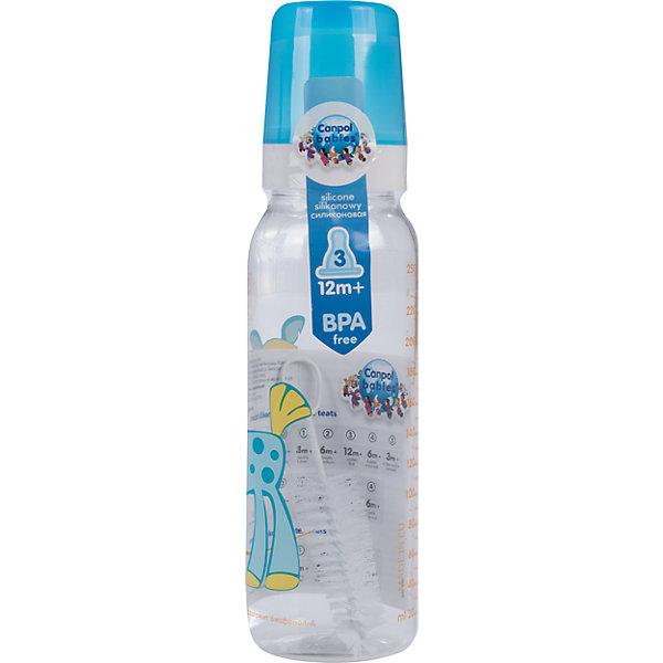Бутылочка тритановая (BPA 0%) с сил. соской, 250 мл. 12+ Cheerful animals, Canpol Babies, лошадка