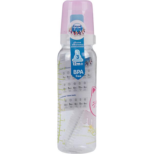 Бутылочка тритановая (BPA 0%) с сил. соской, 250 мл. 12+ Cheerful animals, Canpol Babies, котенок210 - 281 мл.<br>Бутылочка тритановая (BPA 0%) с сил. соской, 250 мл. 12+ Cheerful animals, Canpol Babies, (Канпол Бейбис), котенок.<br><br>Характеристики: <br><br>• Объем бутылочки: 250мл.<br>• Материал бутылочки: тритан - пластик нового поколения.<br>• Материал соски: силикон.<br>• Цвет : нежно - розовый. <br>Бутылочка тритановая (BPA 0%) с сил. соской, 250 мл. 12+ Cheerful animals, Canpol Babies, (Канпол Бейбис) имеет классическую форму. Удобна в использовании дома и в дороге. Бутылочка выполнена из безопасного качественного материала - тритана, который хорошо держит тепло, снабжена силиконовой соской (медленный поток) и защитным колпачком, имеет удобную мерную шкалу.  Такую бутылочку и все части можно кипятить в воде или стерилизовать с помощью специального прибора. Не впитывает запахи. Бутылочка выполнена в нежно - розовом цвете, украшена  забавным принтом – котенок.<br>Бутылочка тритановая (BPA 0%) с сил. соской, 250 мл. 12+ Cheerful animals, Canpol Babies, (Канпол Бейбис), котенок можно купить в нашем интернет- магазине.<br><br>Ширина мм: 65<br>Глубина мм: 54<br>Высота мм: 235<br>Вес г: 640<br>Возраст от месяцев: 12<br>Возраст до месяцев: 36<br>Пол: Унисекс<br>Возраст: Детский<br>SKU: 5156809