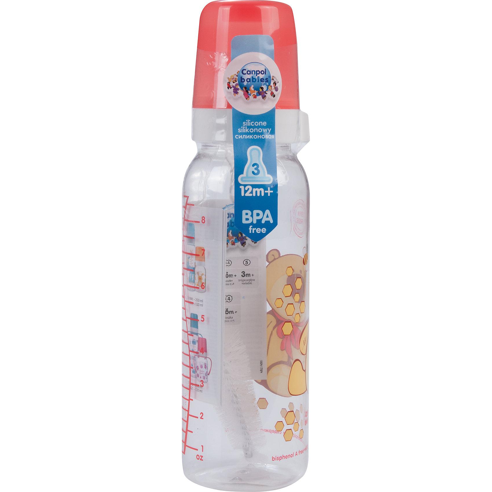 Бутылочка тритановая (BPA 0%) с сил. соской, 250 мл. 12+ Cheerful animals, Canpol Babies, мишка210 - 281 мл.<br>Бутылочка тритановая (BPA 0%) с сил. соской, 250 мл. 12+ Cheerful animals, Canpol Babies, (Канпол Бейбис), мишка.<br><br>Характеристики: <br><br>• Объем бутылочки: 250мл.<br>• Материал бутылочки: тритан - пластик нового поколения.<br>• Материал соски: силикон.<br>• Цвет : красный. <br>Бутылочка тритановая (BPA 0%) с сил. соской, 250 мл. 12+ Cheerful animals, Canpol Babies, (Канпол Бейбис) имеет классическую форму. Удобна в использовании дома и в дороге. Бутылочка выполнена из безопасного качественного материала - тритана, который хорошо держит тепло, снабжена силиконовой соской (медленный поток) и защитным колпачком, имеет удобную мерную шкалу.  Такую бутылочку и все части можно кипятить в воде или стерилизовать с помощью специального прибора. Не впитывает запахи. Бутылочка выполнена в красном цвете, украшена  забавным принтом – мишка.<br>Бутылочка тритановая (BPA 0%) с сил. соской, 250 мл. 12+ Cheerful animals, Canpol Babies, (Канпол Бейбис), мишка можно купить в нашем интернет- магазине.<br><br>Ширина мм: 65<br>Глубина мм: 54<br>Высота мм: 235<br>Вес г: 640<br>Возраст от месяцев: 12<br>Возраст до месяцев: 36<br>Пол: Унисекс<br>Возраст: Детский<br>SKU: 5156810