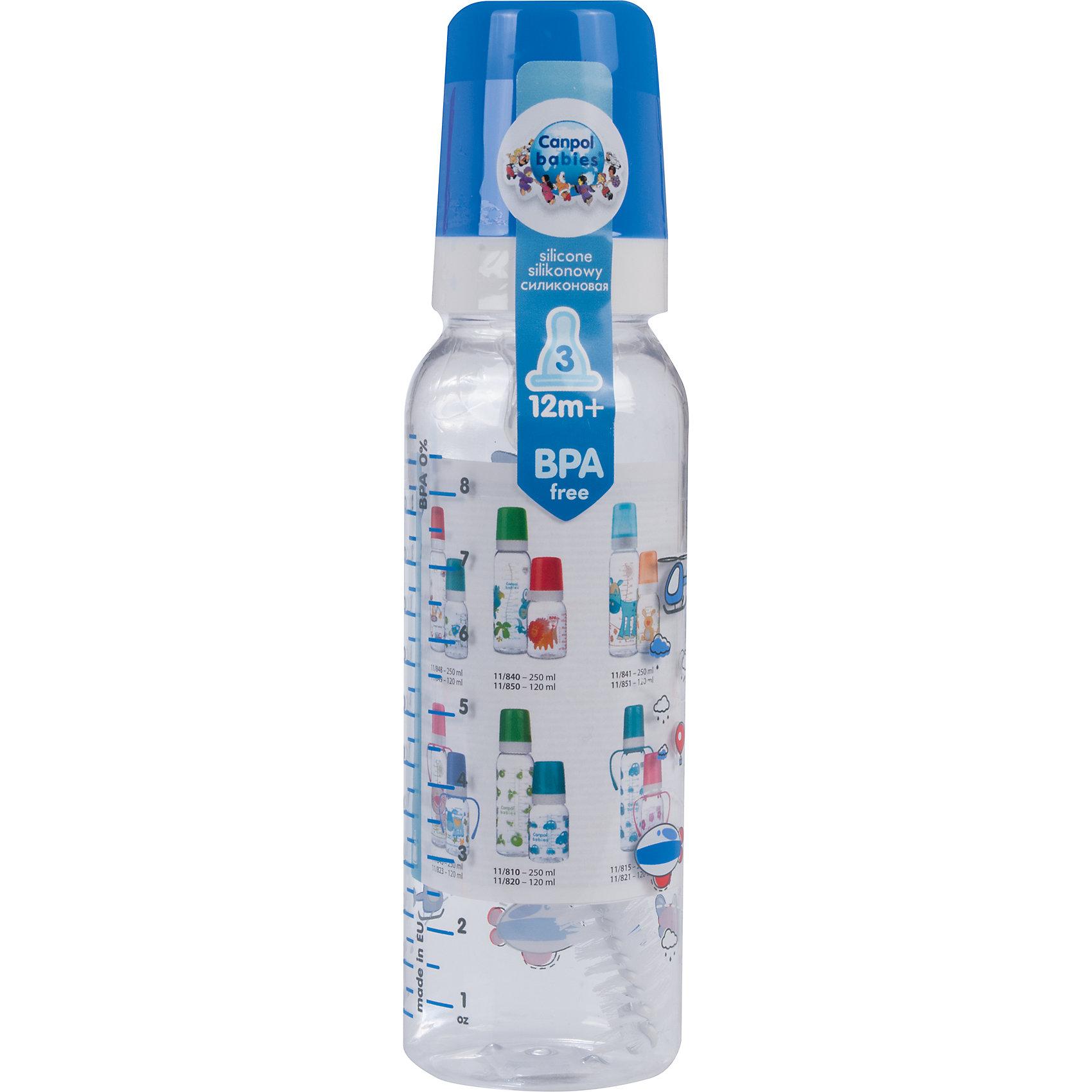 Бутылочка тритановая 250 мл. 12+ Machines, Canpol Babies, синийБутылочка тритановая (BPA 0%) с сил. соской, 250 мл. 12+ Machines, Canpol Babies, (Канпол Бейбис), синий.<br><br>Характеристики: <br><br>• Объем бутылочки: 250мл.<br>• Материал бутылочки: тритан - пластик нового поколения.<br>• Материал соски: силикон.<br>• Цвет : синий. <br>Бутылочка тритановая (BPA 0%) с сил. соской, 250 мл. 12+ Machines, Canpol Babies, (Канпол Бейбис) имеет классическую форму. Удобна в использовании дома и в дороге. Бутылочка выполнена из безопасного качественного материала - тритана, который хорошо держит тепло, снабжена силиконовой соской (быстрый поток) и защитным колпачком, имеет удобную мерную шкалу.  Такую бутылочку и все части можно кипятить в воде или стерилизовать с помощью специального прибора. Не впитывает запахи. Бутылочка выполнена в синем цвете, украшена  забавным принтом.<br>Бутылочка тритановая (BPA 0%) с сил. соской, 250 мл. 12+ Machines, Canpol Babies, (Канпол Бейбис), синий можно купить в нашем интернет- магазине.<br><br>Ширина мм: 55<br>Глубина мм: 55<br>Высота мм: 200<br>Вес г: 630<br>Возраст от месяцев: 12<br>Возраст до месяцев: 36<br>Пол: Мужской<br>Возраст: Детский<br>SKU: 5156811