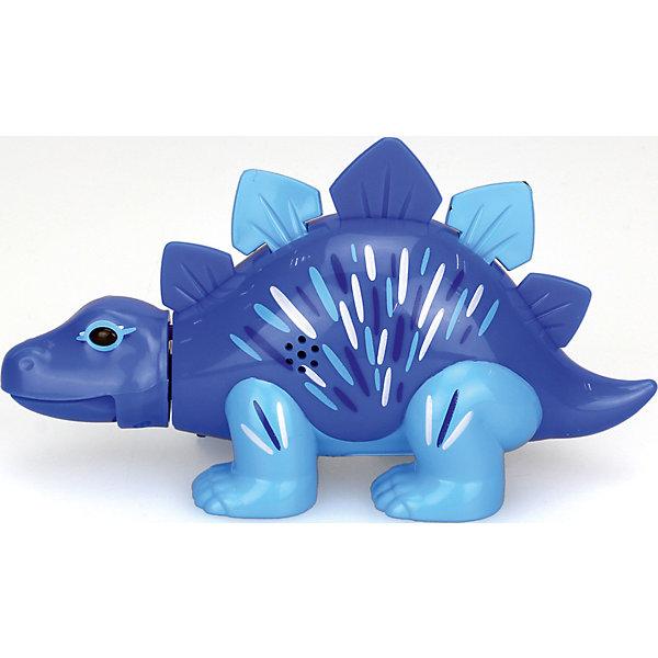 Поющий динозавр Digi Dinos, Стегозавр SimonИнтерактивные животные<br>Характеристики товара:<br><br>- цвет: синий;<br>- материал: пластик, металл;<br>- батарейки: 3xAG13/LR44, в комплекте;<br>- размер упаковки: 16x10x7 см;<br>- габариты игрушки: 6,5x10x15 см;<br>- умеет петь, рычать, записывать звуки, шевелить головой и хвостом.<br><br>Такая игрушка в виде динозавра поможет ребенку весело проводить время - динозавр умеет петь, рычать, записывать звуки, шевелить головой и хвостом. Это выглядит очень забавно! Игрушка реагирует на звук от специального свистка, который входит в комплект. Также можно приобрести другие игрушки из этой серии - тогда они будут петь хором!<br>Динозавр способен помогать всестороннему развитию ребенка: развивать тактильное восприятие, мелкую моторику, воображение, внимание и логику. Изделие произведено из качественных материалов, безопасных для ребенка. Набор станет отличным подарком детям!<br><br>Игрушку Стегозавр, синий, от бренда DigiBirds можно купить в нашем интернет-магазине.<br>Ширина мм: 115; Глубина мм: 150; Высота мм: 62; Вес г: 128; Возраст от месяцев: 36; Возраст до месяцев: 2147483647; Пол: Унисекс; Возраст: Детский; SKU: 5156844;