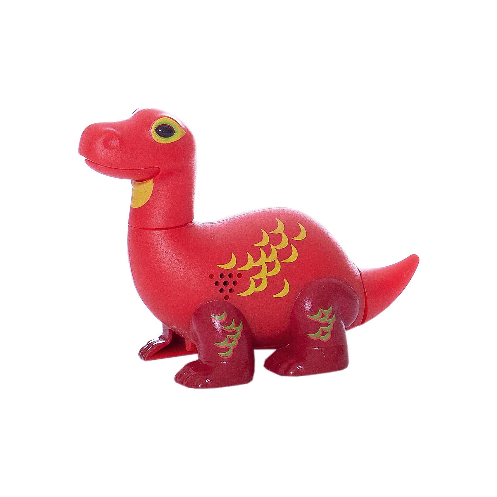 Поющий динозавр Digi Dinos, ApolloИнтерактивные животные<br>Характеристики товара:<br><br>- цвет: красный;<br>- материал: пластик, металл;<br>- батарейки: 3xAG13/LR44, в комплекте;<br>- размер упаковки: 16x10x7 см;<br>- габариты игрушки: 6,5x10x15 см;<br>- умеет петь, рычать, записывать звуки, шевелить головой и хвостом.<br><br>Такая игрушка в виде динозавра поможет ребенку весело проводить время - динозавр умеет петь, рычать, записывать звуки, шевелить головой и хвостом. Это выглядит очень забавно! Игрушка реагирует на звук от специального свистка, который входит в комплект. Также можно приобрести другие игрушки из этой серии - тогда они будут петь хором!<br>Динозавр способен помогать всестороннему развитию ребенка: развивать тактильное восприятие, мелкую моторику, воображение, внимание и логику. Изделие произведено из качественных материалов, безопасных для ребенка. Набор станет отличным подарком детям!<br><br>Игрушку Динозавр от бренда Silverlit можно купить в нашем интернет-магазине.<br><br>Ширина мм: 115<br>Глубина мм: 150<br>Высота мм: 62<br>Вес г: 128<br>Возраст от месяцев: 36<br>Возраст до месяцев: 2147483647<br>Пол: Унисекс<br>Возраст: Детский<br>SKU: 5156846