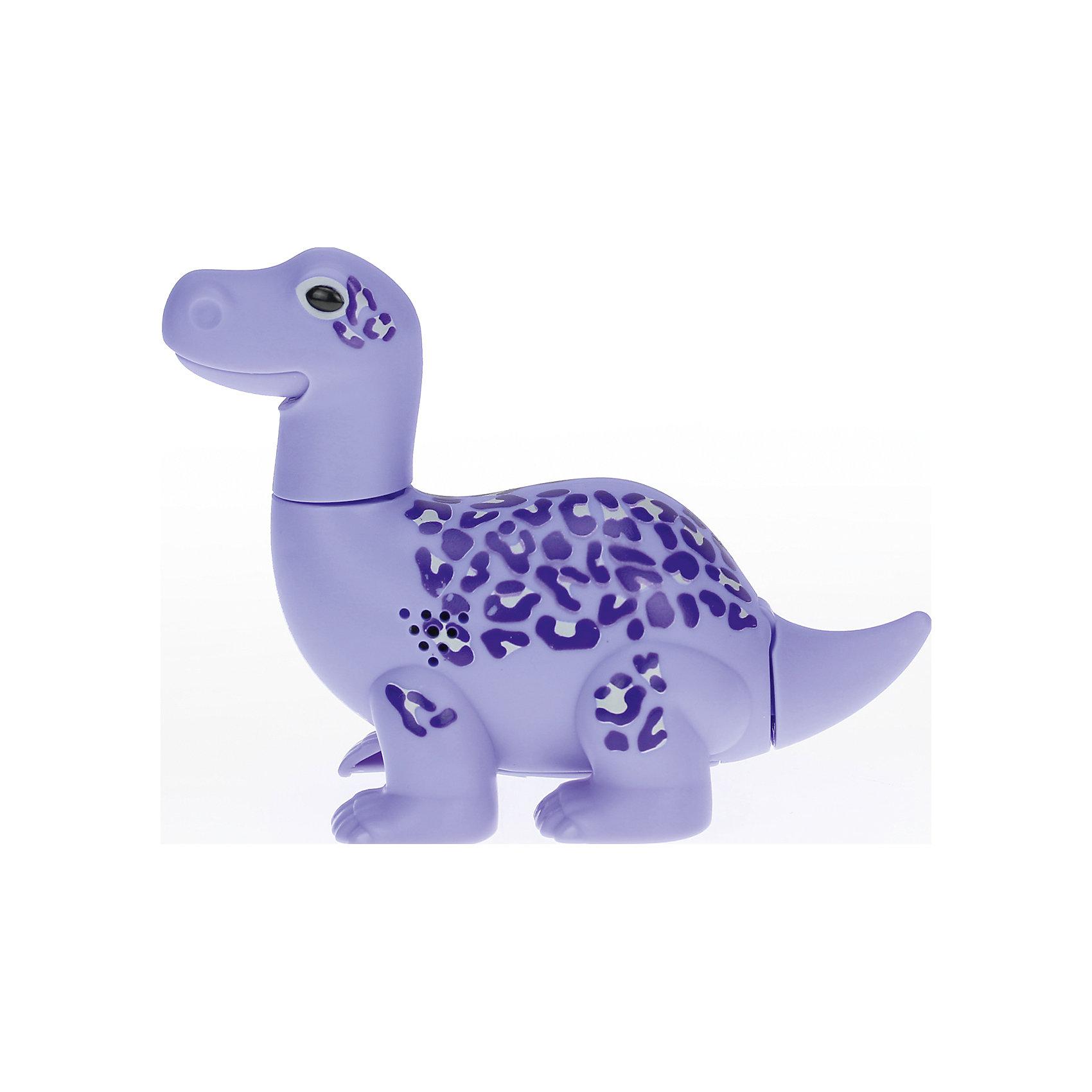 Поющий динозавр Digi Dinos, MaxИнтерактивные животные<br>Характеристики товара:<br><br>- цвет: фиолетовый;<br>- материал: пластик, металл;<br>- батарейки: 3xAG13/LR44, в комплекте;<br>- размер упаковки: 16x10x7 см;<br>- габариты игрушки: 6,5x10x15 см;<br>- умеет петь, рычать, записывать звуки, шевелить головой и хвостом.<br><br>Такая игрушка в виде динозавра поможет ребенку весело проводить время - динозавр умеет петь, рычать, записывать звуки, шевелить головой и хвостом. Это выглядит очень забавно! Игрушка реагирует на звук от специального свистка, который входит в комплект. Также можно приобрести другие игрушки из этой серии - тогда они будут петь хором!<br>Динозавр способен помогать всестороннему развитию ребенка: развивать тактильное восприятие, мелкую моторику, воображение, внимание и логику. Изделие произведено из качественных материалов, безопасных для ребенка. Набор станет отличным подарком детям!<br><br>Игрушку Динозавр от бренда Silverlit можно купить в нашем интернет-магазине.<br><br>Ширина мм: 115<br>Глубина мм: 150<br>Высота мм: 62<br>Вес г: 128<br>Возраст от месяцев: 36<br>Возраст до месяцев: 2147483647<br>Пол: Унисекс<br>Возраст: Детский<br>SKU: 5156849