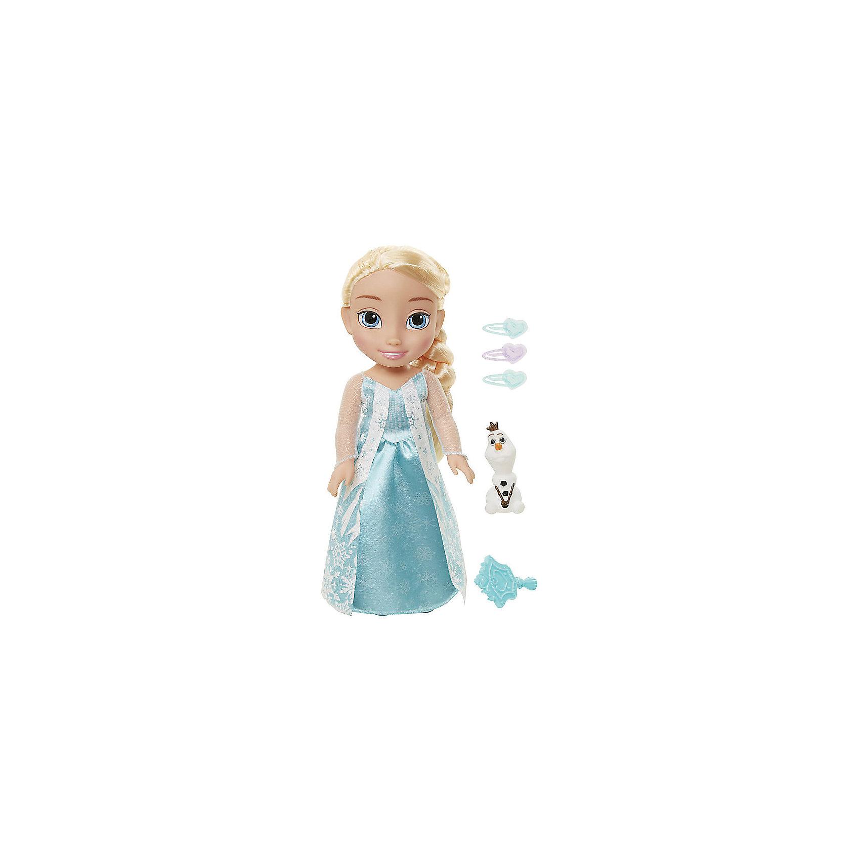 Кукла-малышка Холодное сердце с аксессуарами, Эльза, 35 см.Холодное Сердце<br>Кукла Эльза, 35 см, Холодное Сердце.<br><br>Характеристики:<br><br>- В комплекте: кукла, расческа, 3 заколки, фигурка снеговика Олафа<br>- Высота куклы: 35 см.<br>- Материал: пластик, текстиль<br><br>Кукла-малышка Эльза создана по мотивам популярного анимационного фильма Холодное сердце и наверняка понравится каждой его поклоннице! Эльза выглядит очень реалистично благодаря выразительным чертам лица, а особенно большим голубым глазкам. На кукле надето изящное платье голубого цвета, украшенное снежинками, а ее роскошные светлые волосы заплетены в косу. Кукла выполнена из высококачественных материалов, выглядит ярко и эффектно. В комплекте также прилагаются дополнительные аксессуары: заколки, расческа и фигурка уморительного снеговичка Олафа.<br><br>Куклу Эльза, 35 см, Холодное Сердце купить в нашем интернет-магазине.<br><br>Ширина мм: 170<br>Глубина мм: 390<br>Высота мм: 110<br>Вес г: 260<br>Возраст от месяцев: 36<br>Возраст до месяцев: 2147483647<br>Пол: Женский<br>Возраст: Детский<br>SKU: 5156886