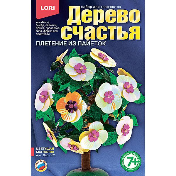 Дерево счастья Цветущая магнолияДеревья и картины из пайеток<br>Характеристики товара:<br><br>• цвет: разноцветный<br>• размер упаковки: 13х20х4 см<br>• вес: 190 г<br>• комплектация: бисер, акриловые бусины, пайетки, пряжа коричневая, проволока, гипс, полистирольная форма для заливки гипса, подробная инструкция<br>• возраст: от семи лет<br>• упаковка: картонная коробка<br>• страна бренда: РФ<br>• страна изготовитель: РФ<br><br>Творчество - это увлекательно и полезно! Такой набор станет отличным подарком ребенку - ведь с помощью него можно получить красивое дерево счастья! В набор входит бисер, акриловые бусины, пайетки, пряжа коричневая, проволока, гипс, полистирольная форма для заливки гипса, подробная инструкция. Чтобы сделать дерево, ребенку нужно заполнить следовать указаниям инструкции. В итоге получается украшение для интерьера или подарок родным.<br>Детям очень нравится что-то делать своими руками! Кроме того, творчество помогает детям развивать важные навыки и способности, оно активизирует мышление, формирует усидчивость, творческие способности, мелкую моторику и воображение. Изделие производится из качественных и проверенных материалов, которые безопасны для детей.<br><br>Набор Дерево счастья Цветущая магнолия от бренда LORI можно купить в нашем интернет-магазине.<br><br>Ширина мм: 208<br>Глубина мм: 135<br>Высота мм: 40<br>Вес г: 188<br>Возраст от месяцев: 84<br>Возраст до месяцев: 144<br>Пол: Женский<br>Возраст: Детский<br>SKU: 5158193